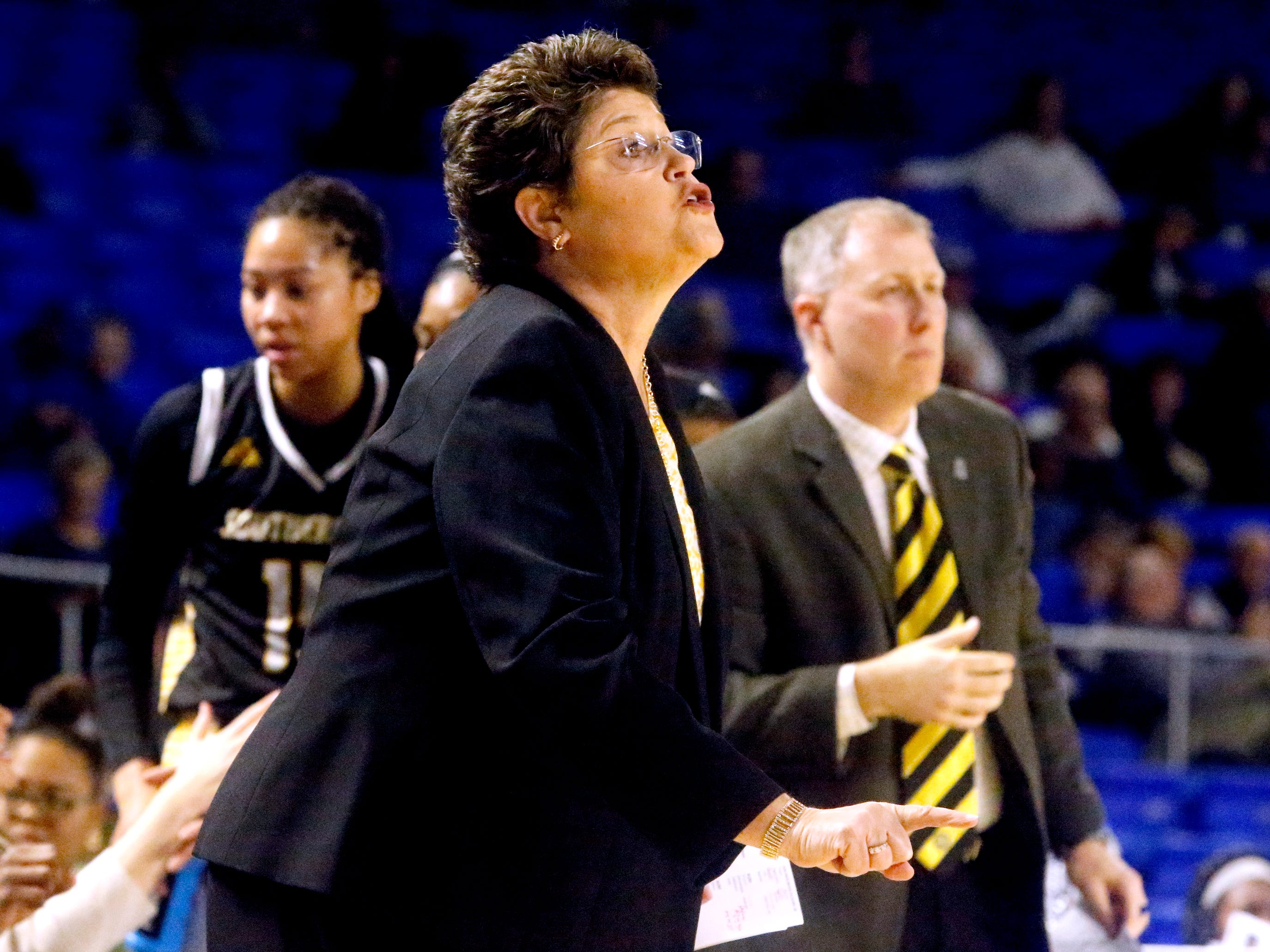 Southern Miss' head coach Joye Lee-McNelis on the sidelines during the game against MTSU on Thursday Jan. 10, 2019.
