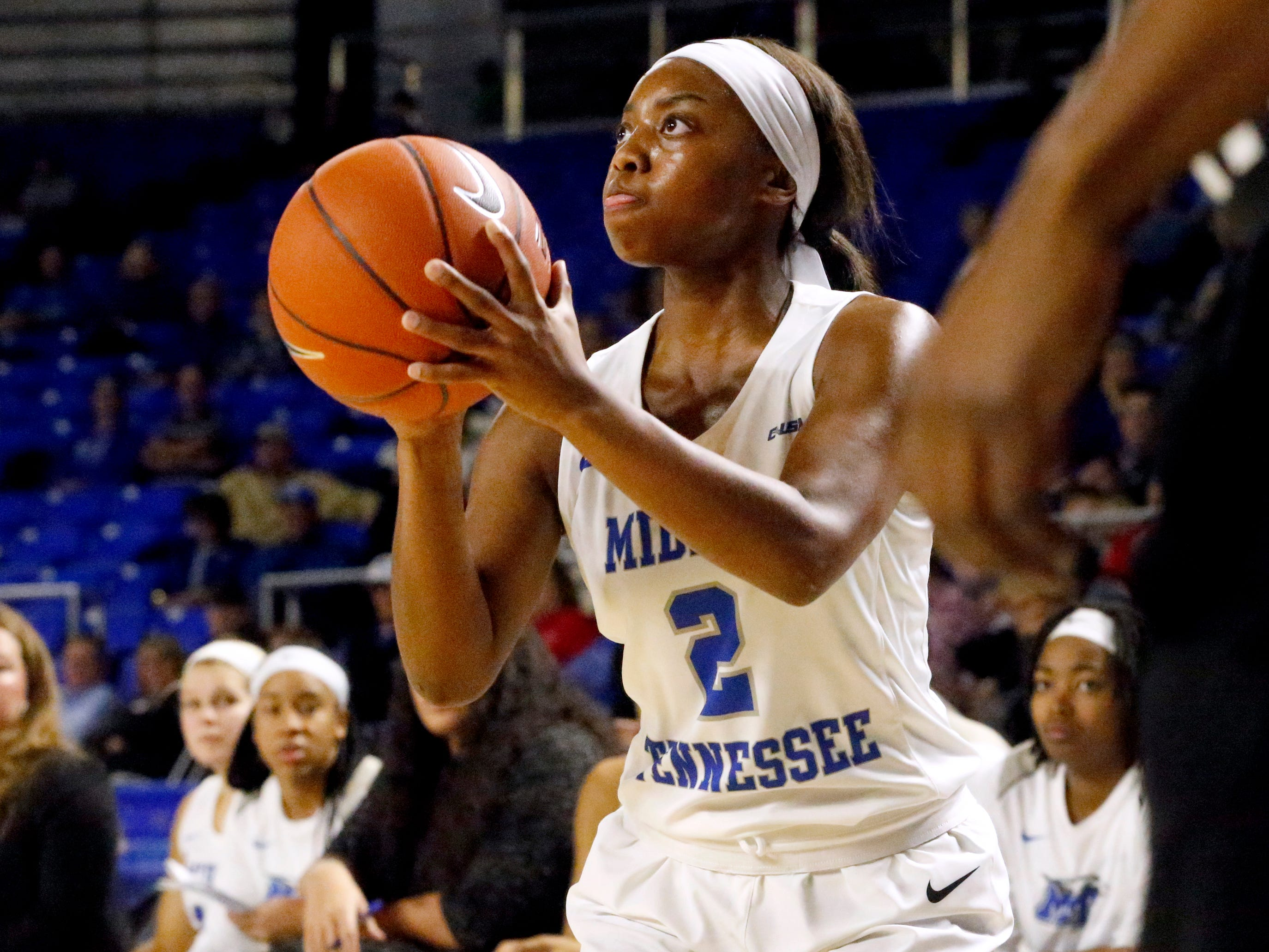 MTSU's guard Taylor Sutton (2) tries for a three point basket against Southern Miss on Thursday Jan. 10, 2019.