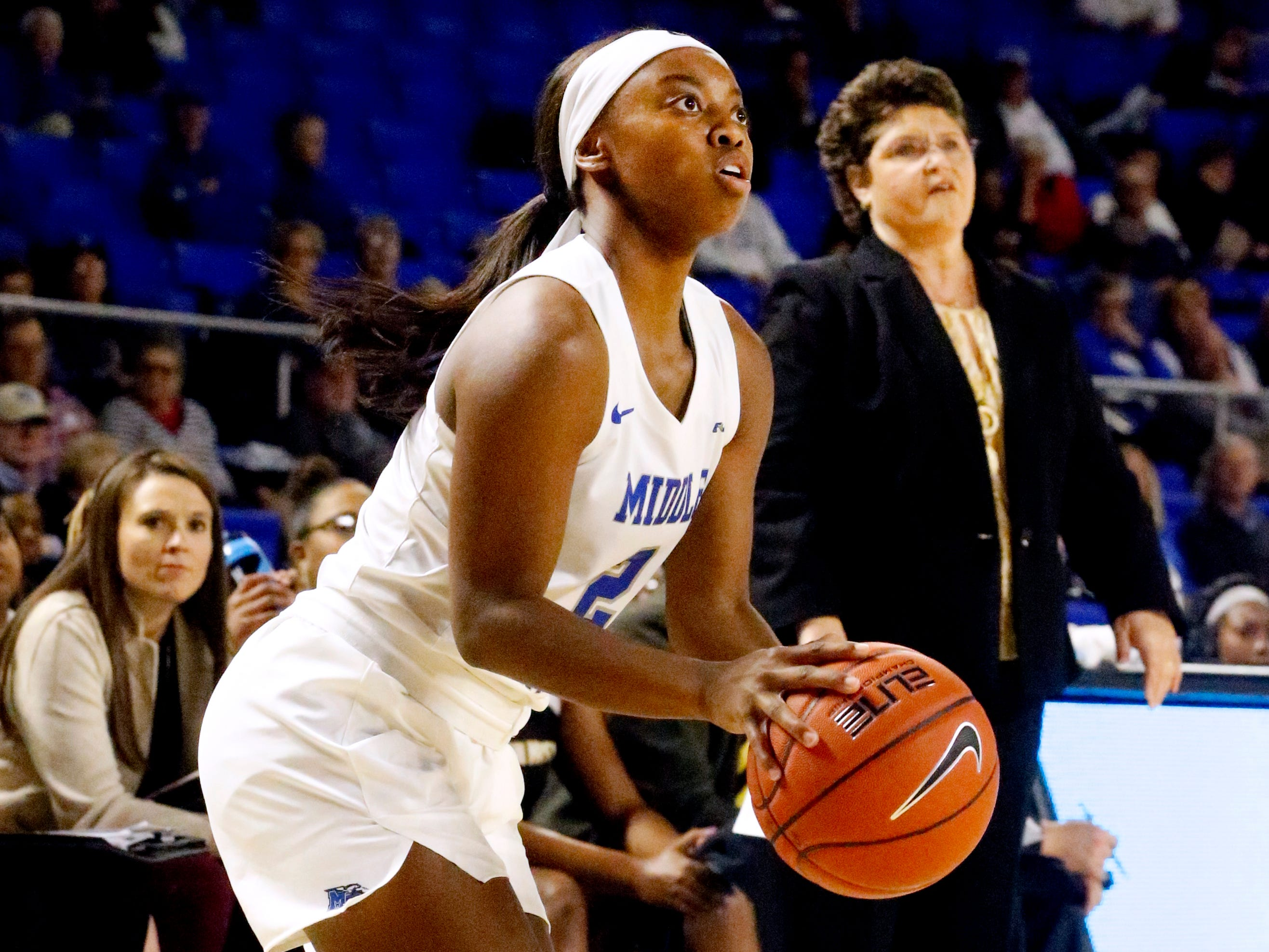 MTSU's guard Taylor Sutton (2) goes for a three point basket against Southern Miss, on Thursday Jan. 10, 2019.