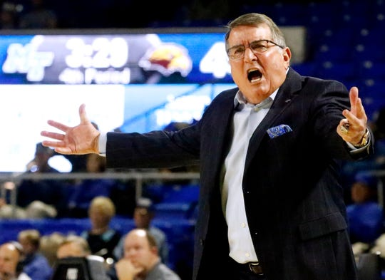 MTSU's head coach Rick Insell argues a call from the sidelines during the game against Southern Miss on Thursday Jan. 10, 2019.