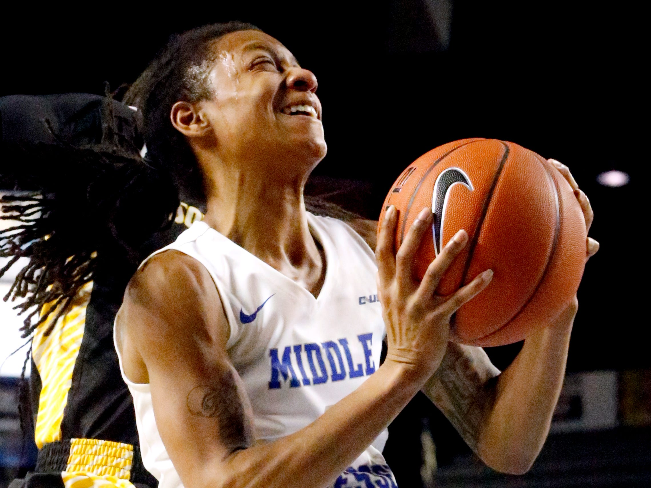 MTSU's guard A'Queen Hayes (1) goes up for a shot during the game against Southern Miss, on Thursday Jan. 10, 2019.