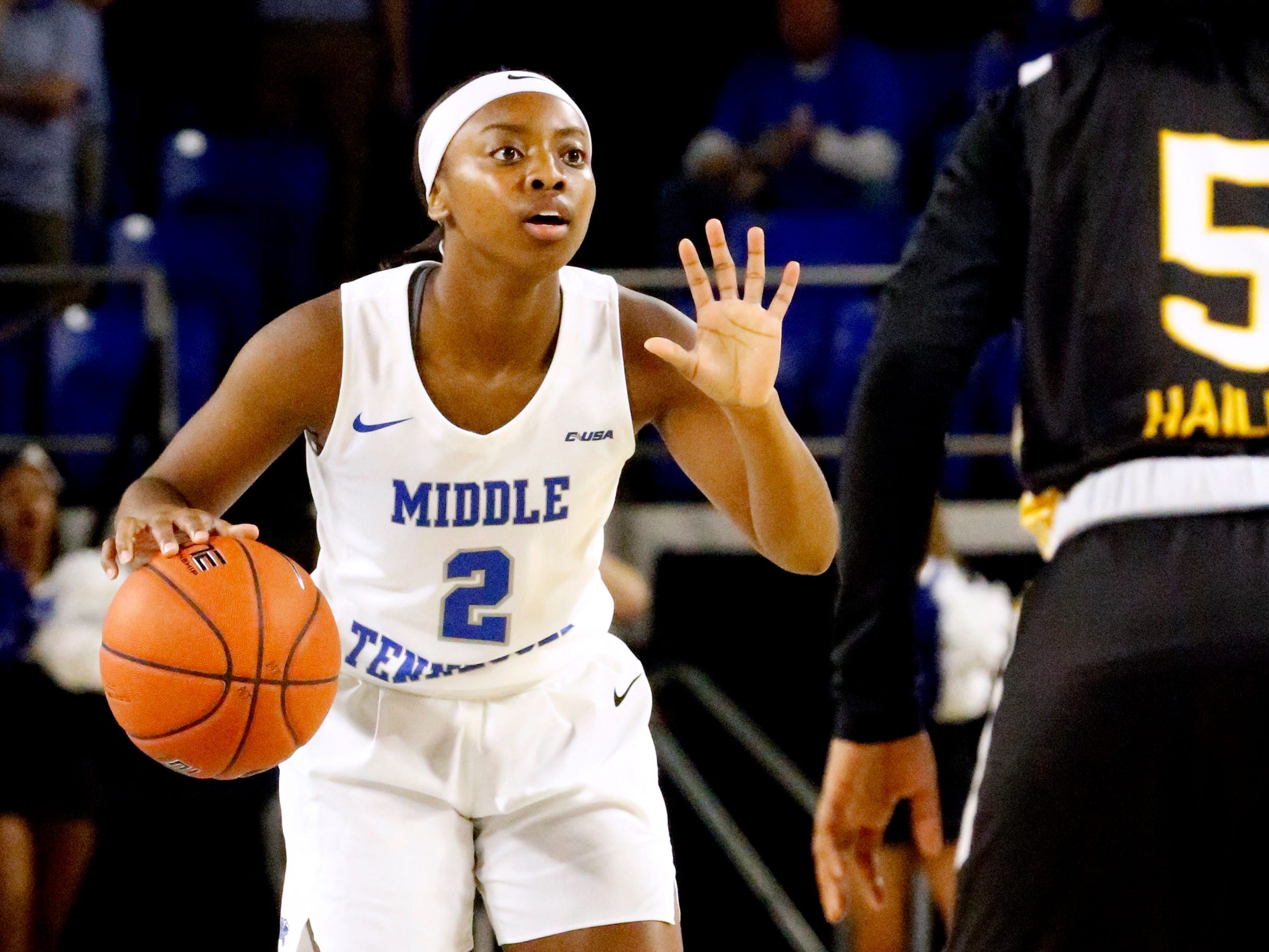 MTSU's guard Taylor Sutton (2) brings the ball down the court during the game against Southern Miss on Thursday Jan. 10, 2019.