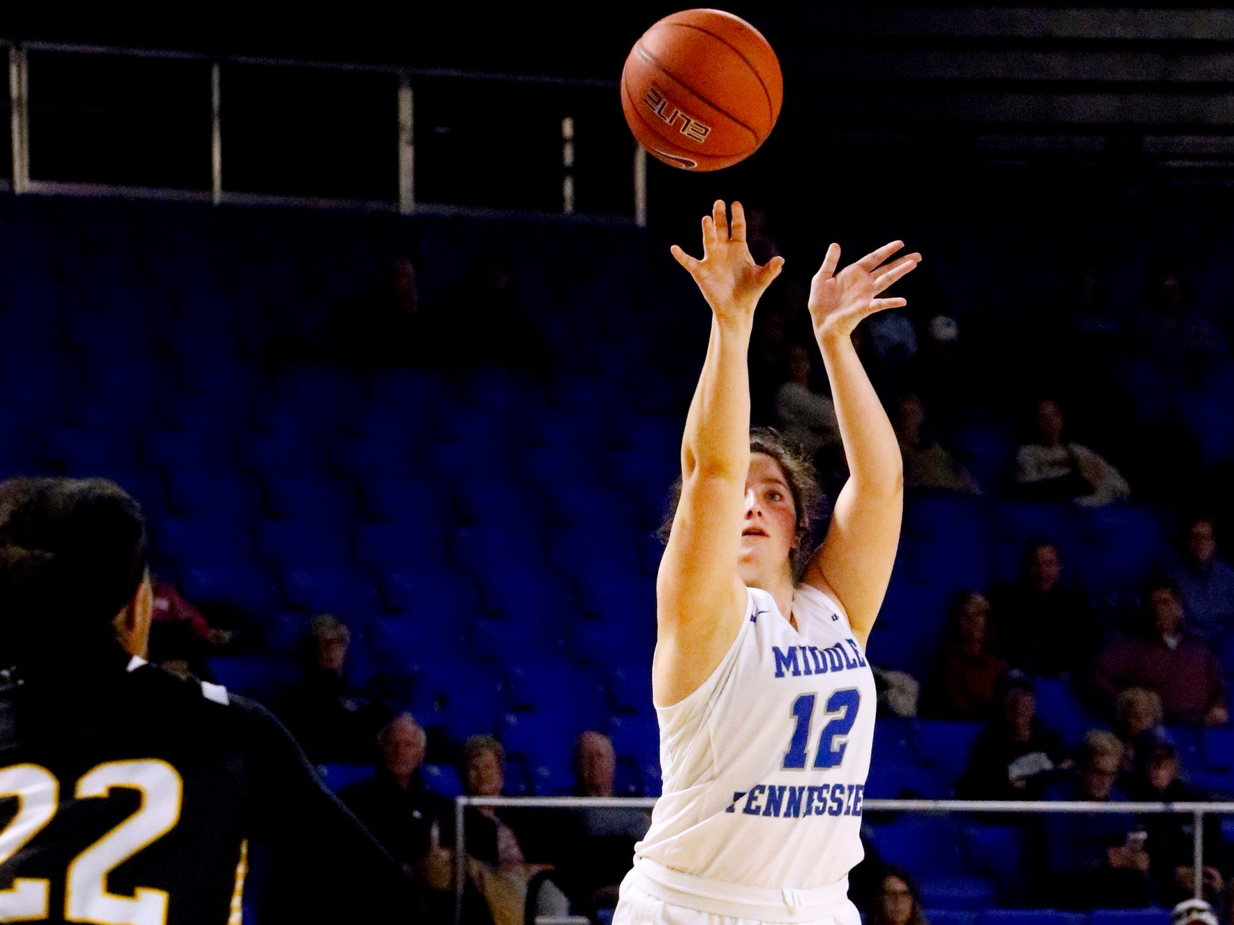 MTSU's guard Jess Louro (12) tries for a three point basket against Southern Miss on Thursday Jan. 10, 2019.