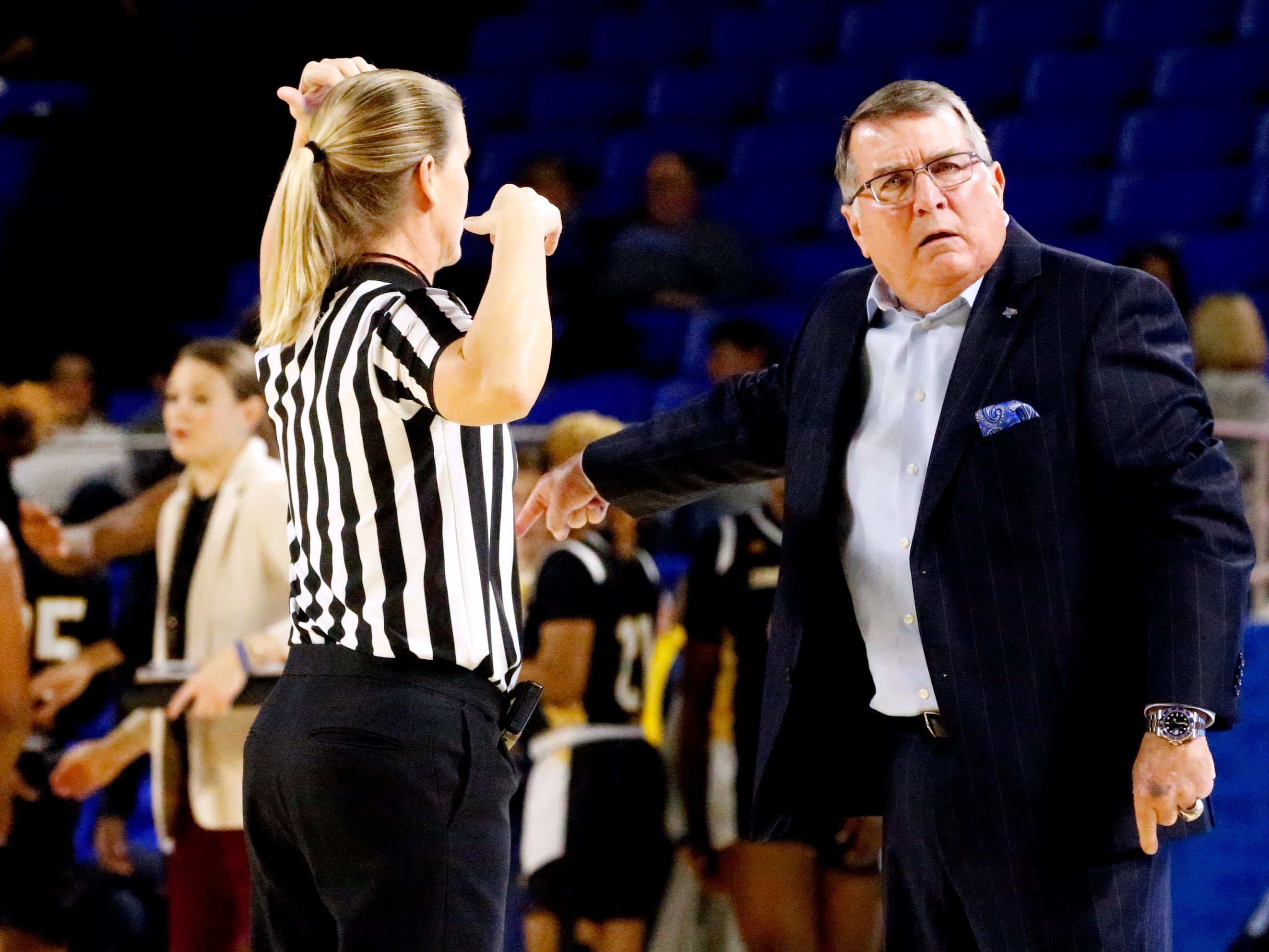MTSU's head coach Rick Insell argues a during a time-out during the game against Southern Miss on Thursday Jan. 10, 2019.
