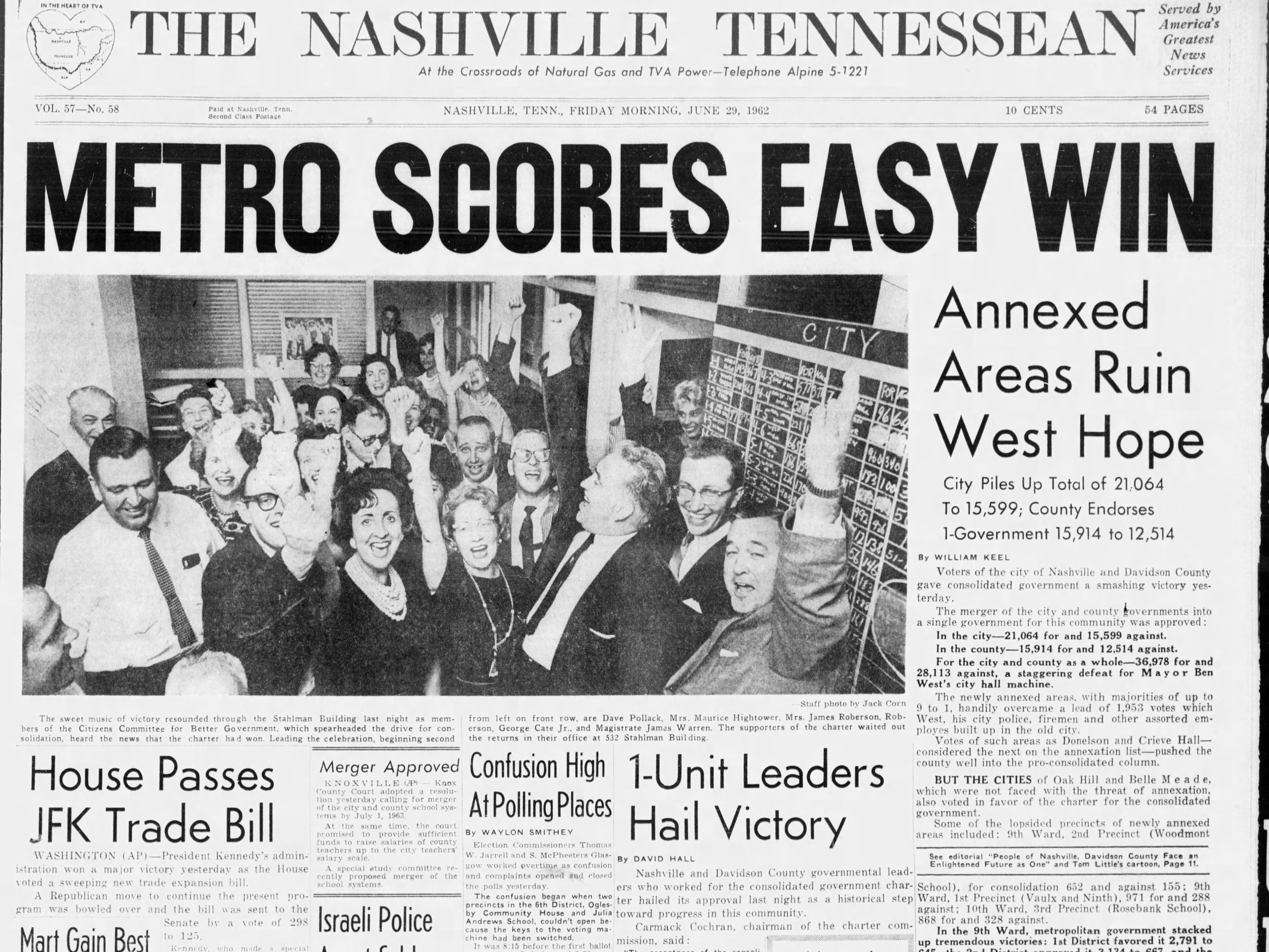 The front page of the June 29, 1962 of The Tennessean for the coverage of the passing of the Metro Government.