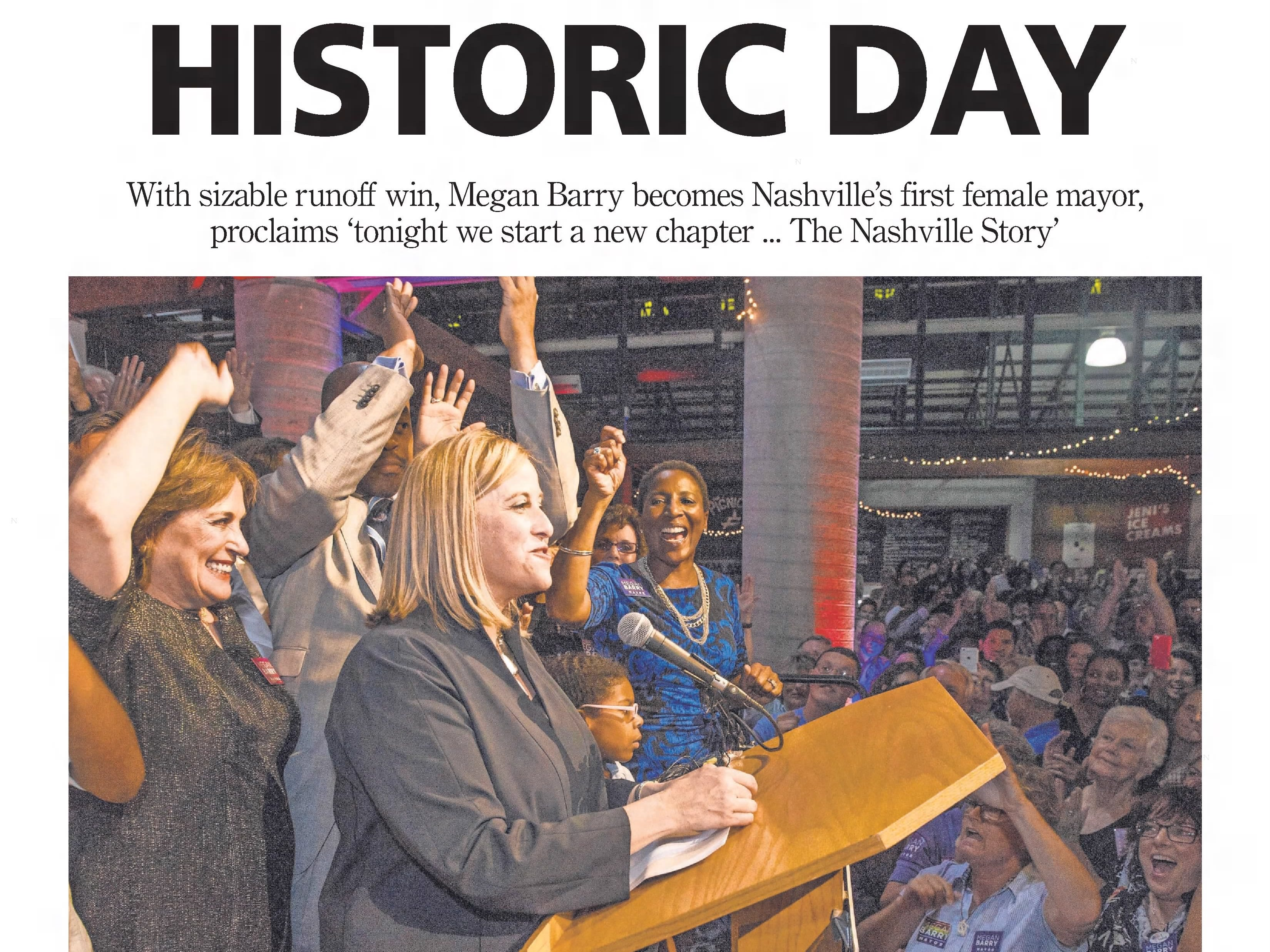 The front page of the Sept. 11, 2015 of The Tennessean for the coverage of the election of Mayor Megan Barry.