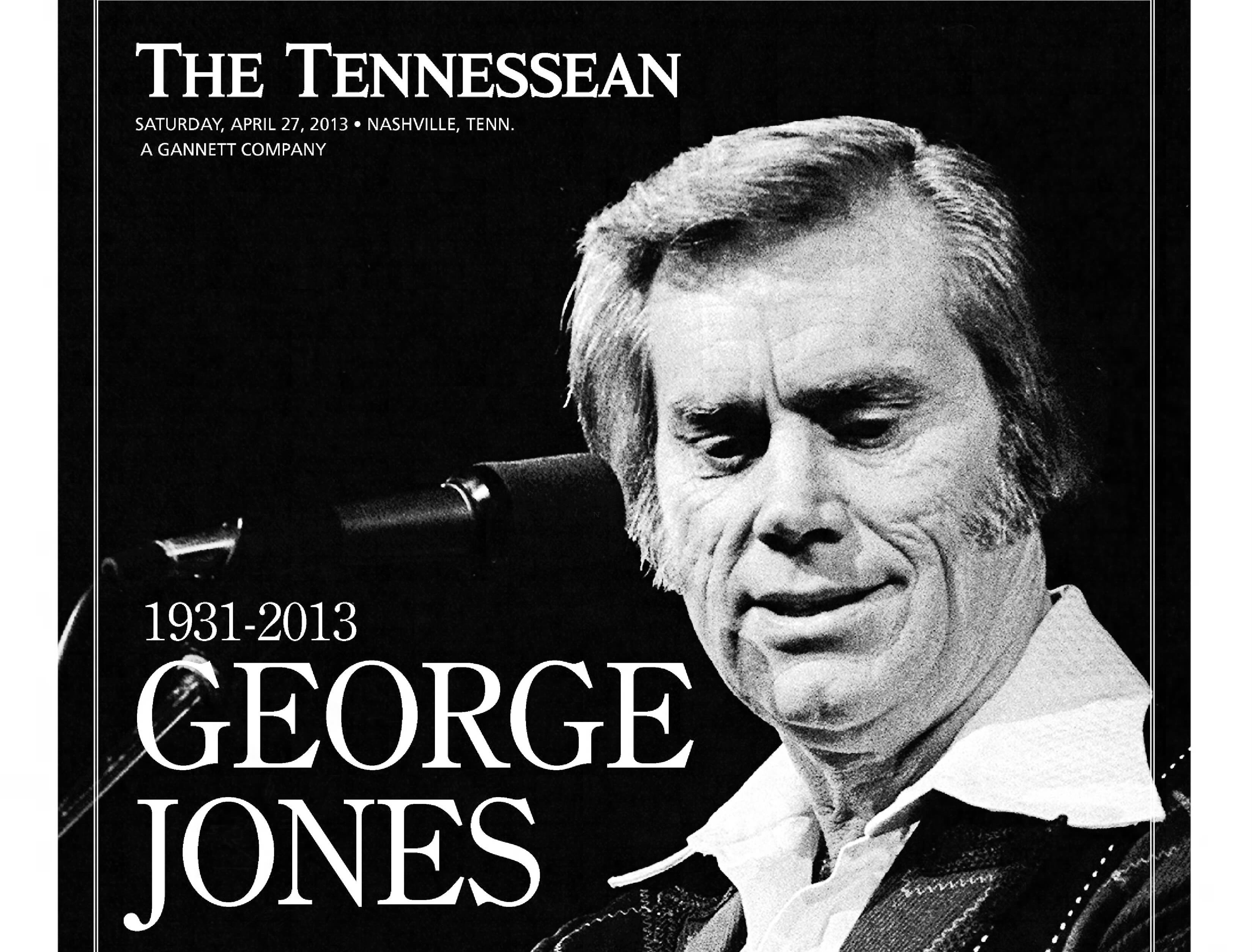 The front page of the April 27, 2013 of The Tennessean for the coverage of the death of George Jones.