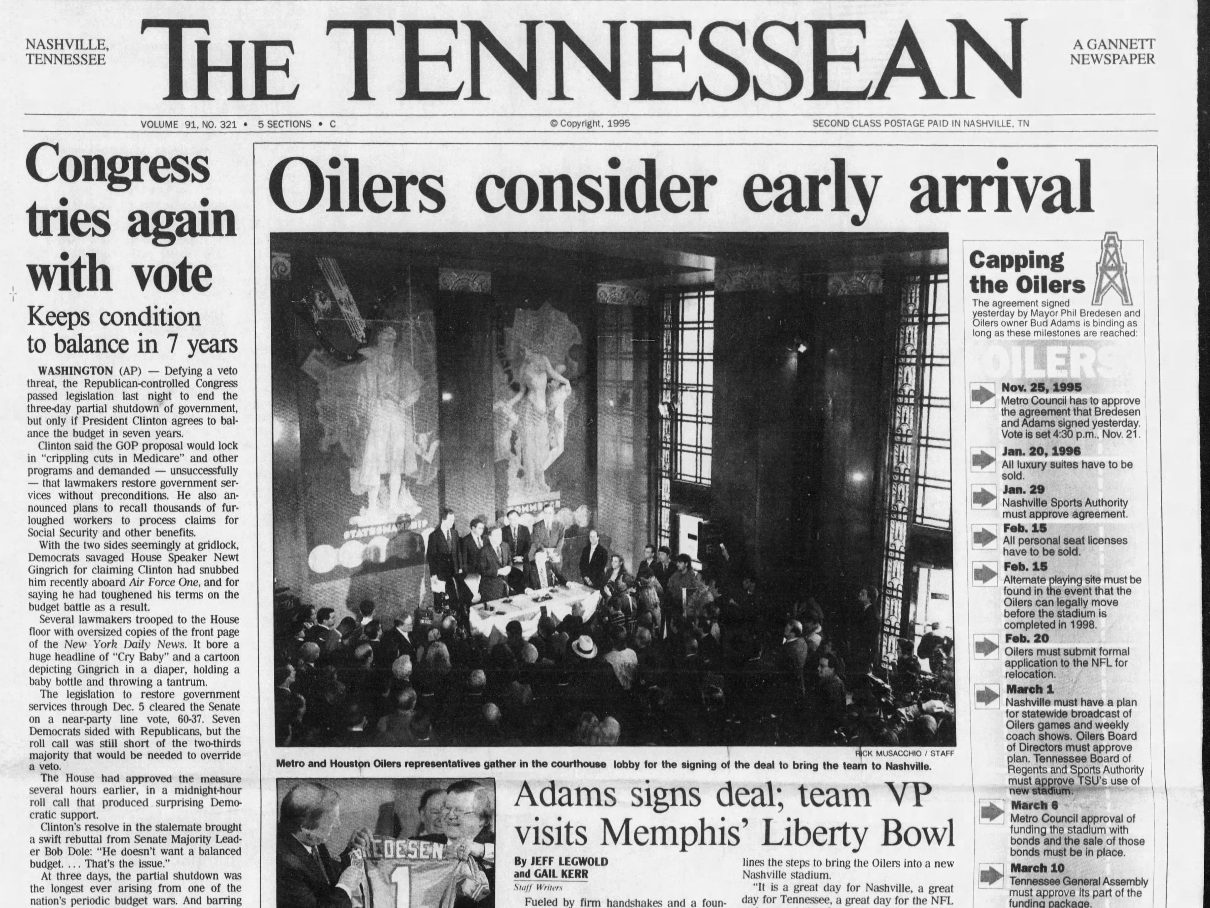 The front page of the Nov. 17, 1995 of The Tennessean for the coverage of the Houston Oilers coming to Nashville.