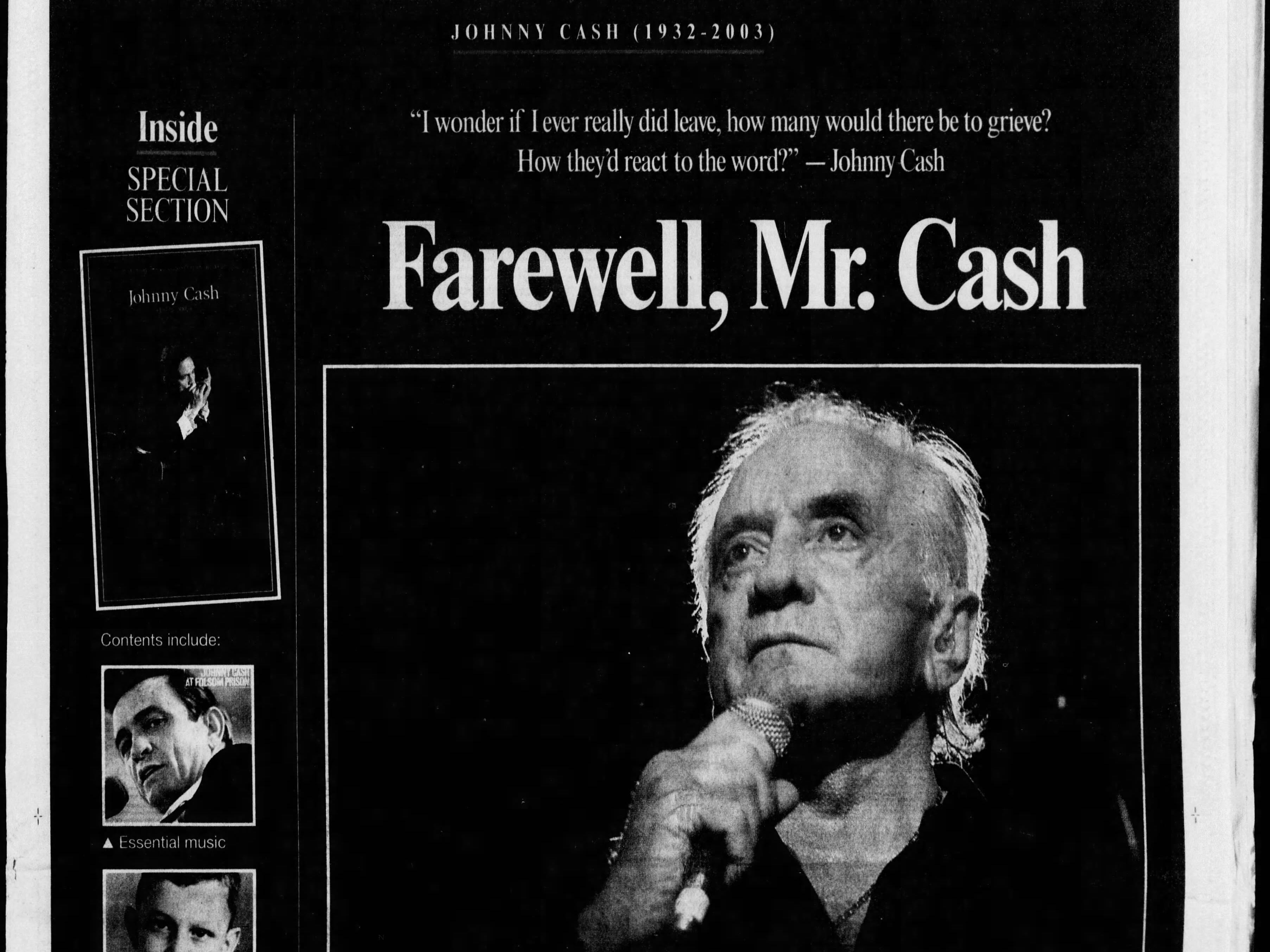 The front page of the Sept. 13, 2003 of The Tennessean for the coverage of the death of Johnny Cash.