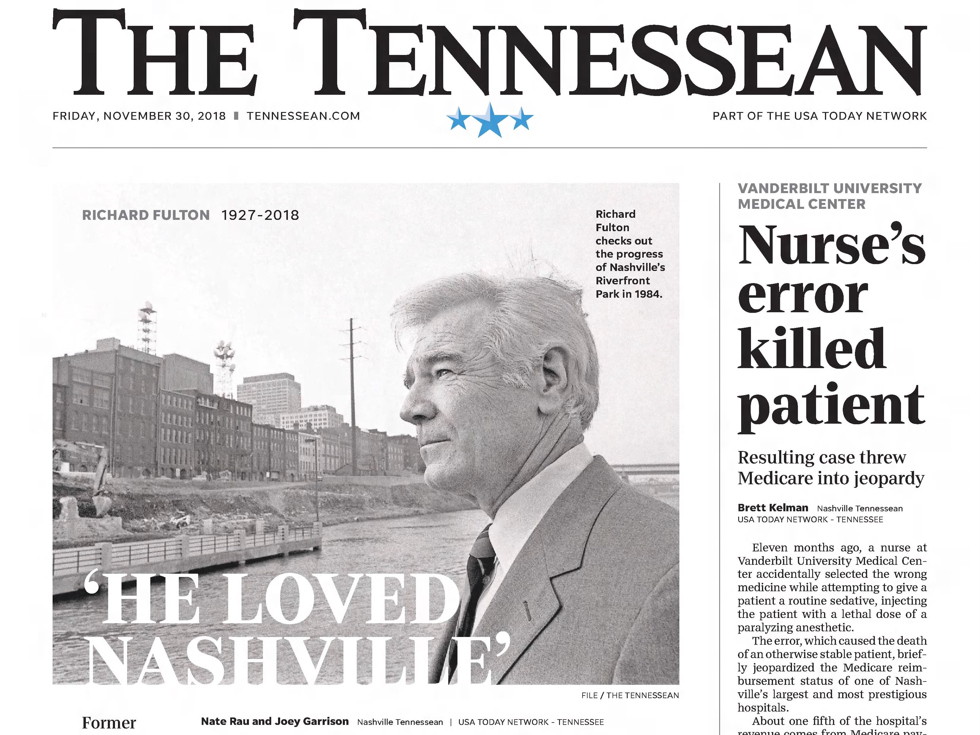 The front page of the Nov. 30, 2018 of The Tennessean for the coverage of the death of former Mayor Richard Fulton.
