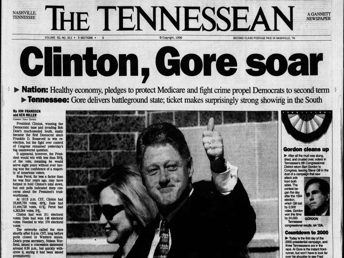 The front page of the Nov. 6, 1996 of The Tennessean which Bill Clinton won the presidential election.
