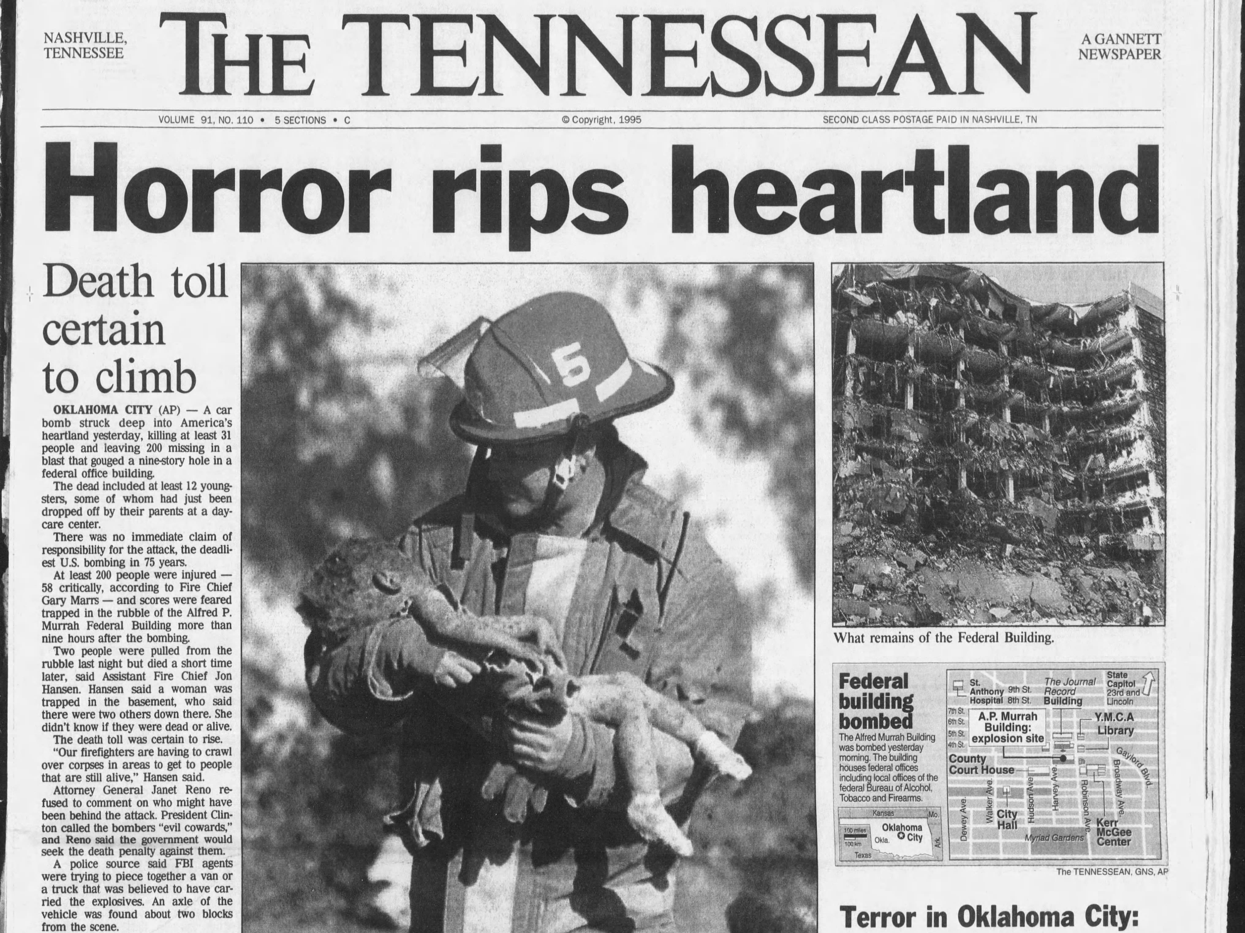 The front page of the April 20, 1995 of The Tennessean for the coverage of the Oklahoma City bombing.