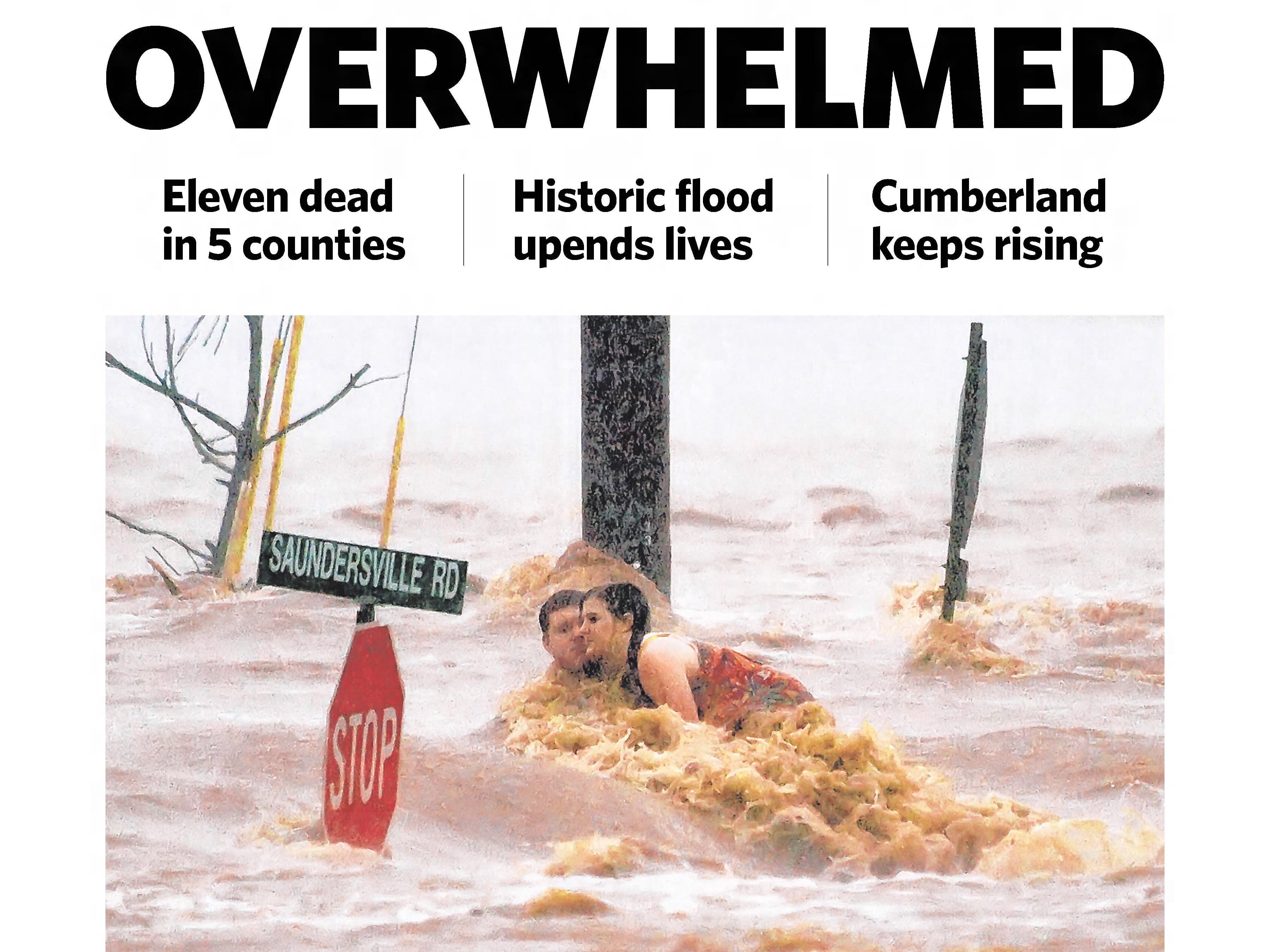 The front page of the May 3, 2010 of The Tennessean for the coverage of the Nashville flood.