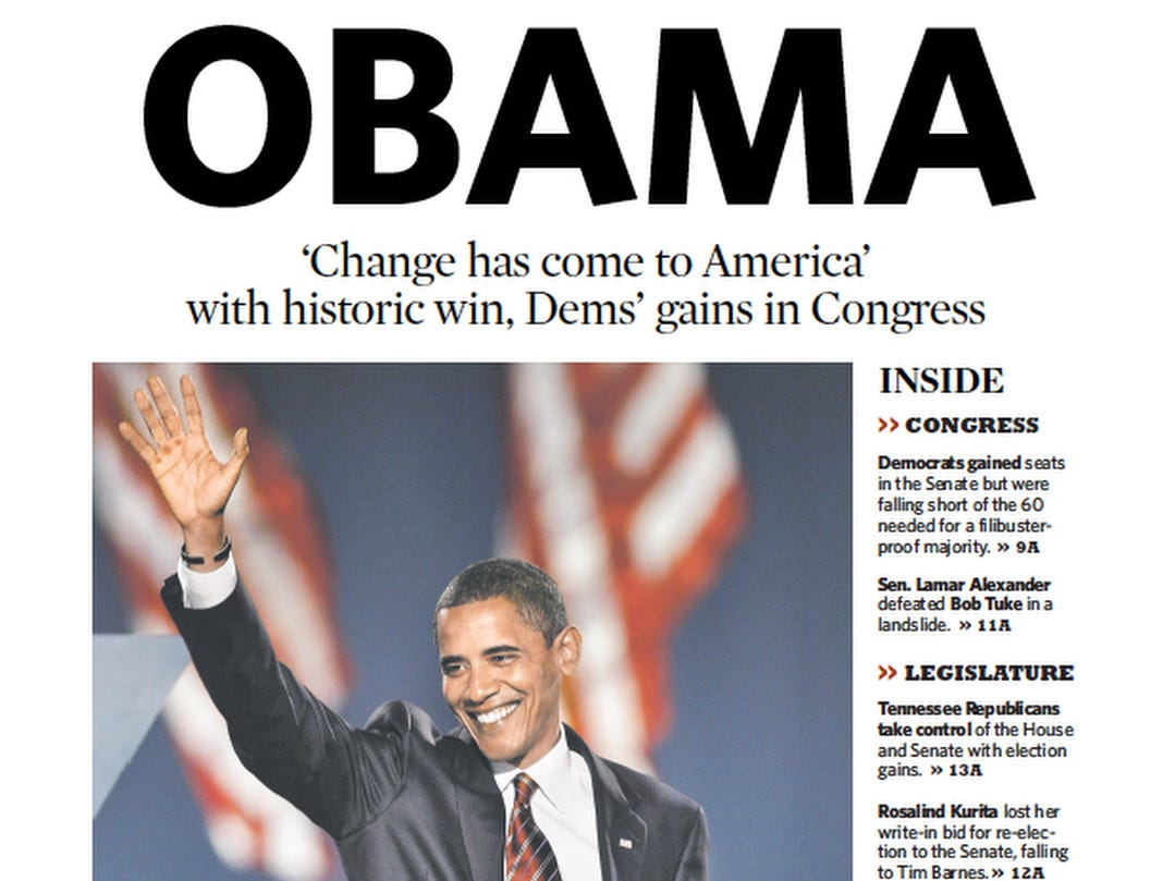 The front page of the Nov. 5, 2008 of The Tennessean which Barack Obama won the presidential election.