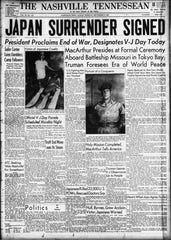 The front page of the Sept. 2, 1945 of The Tennessean for the coverage of the end of World War II.