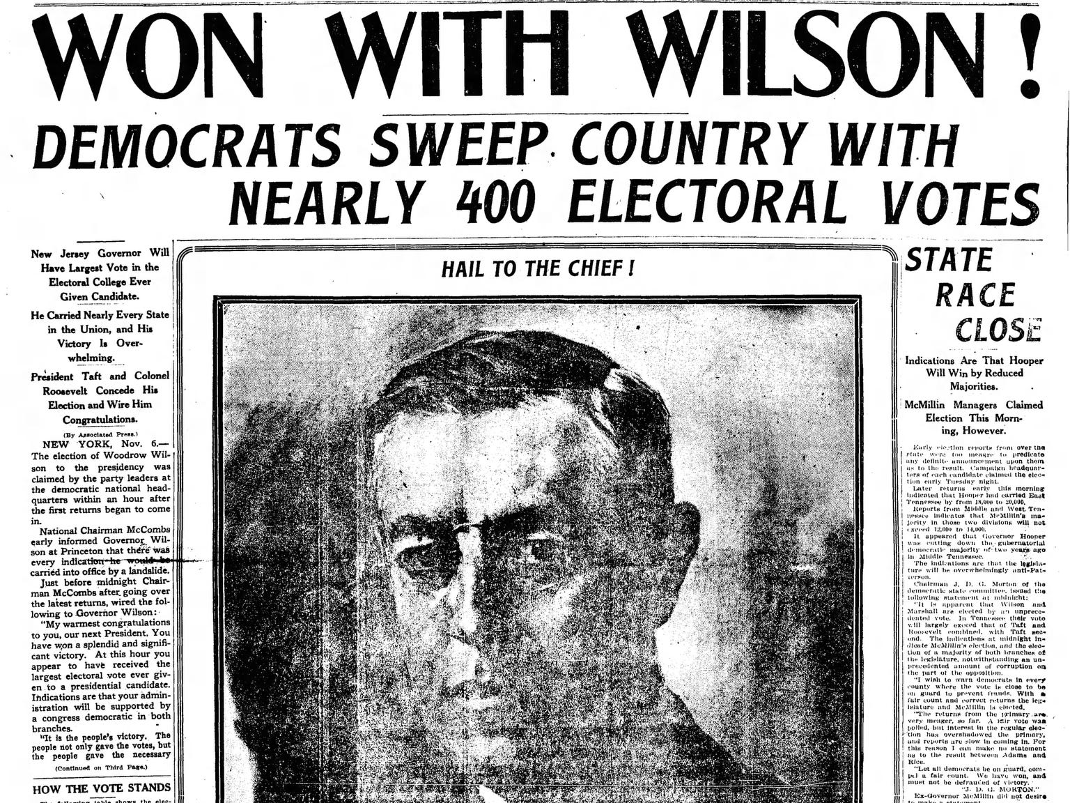 The front page of the Nov. 6, 1912 of The Tennessean which Woodrow Wilson won the presidential election.