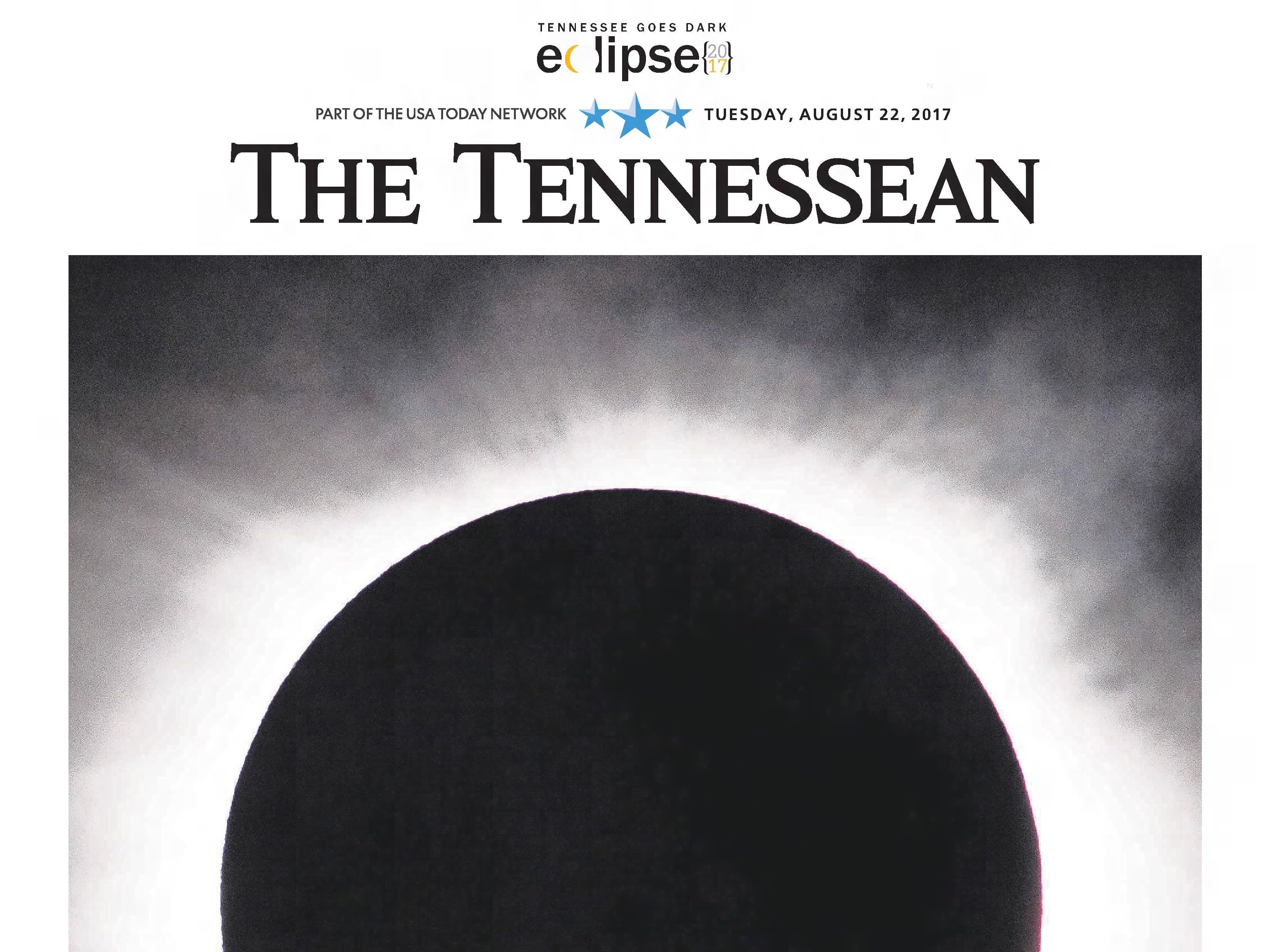 The front page of the Aug. 22, 2017 of The Tennessean for the coverage of the Music City solar eclipse.