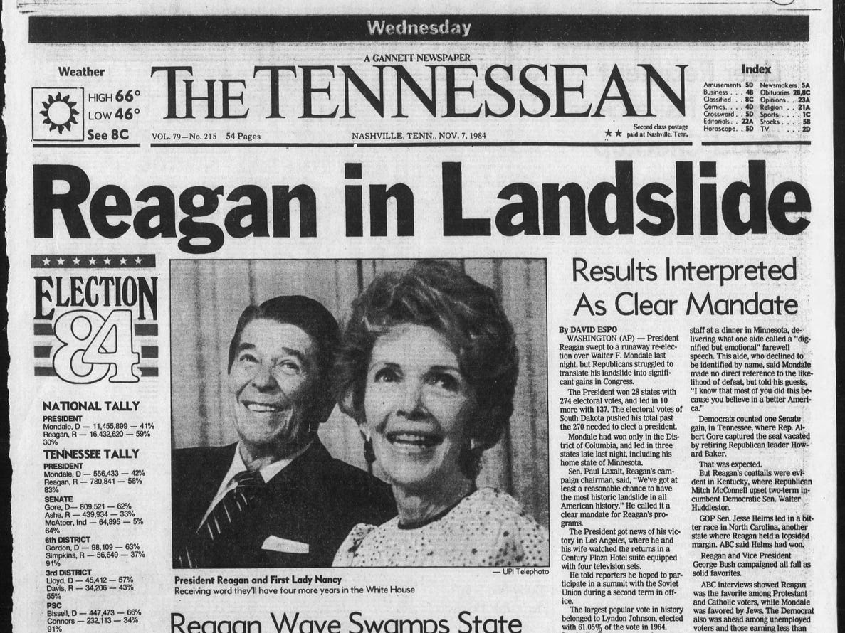The front page of the Nov. 7, 1984 of The Tennessean which Ronald Reagan won the presidential election.