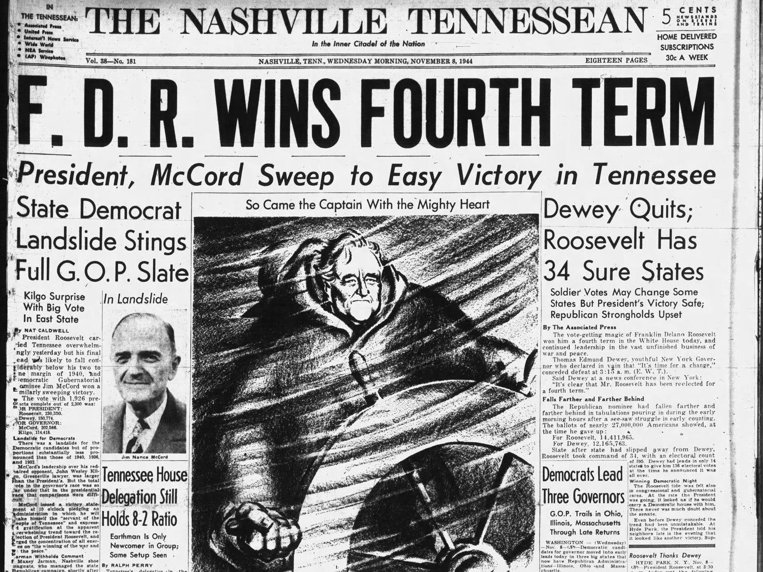 The front page of the Nov. 8, 1944 of The Tennessean which Franklin D. Roosevelt won the presidential election.