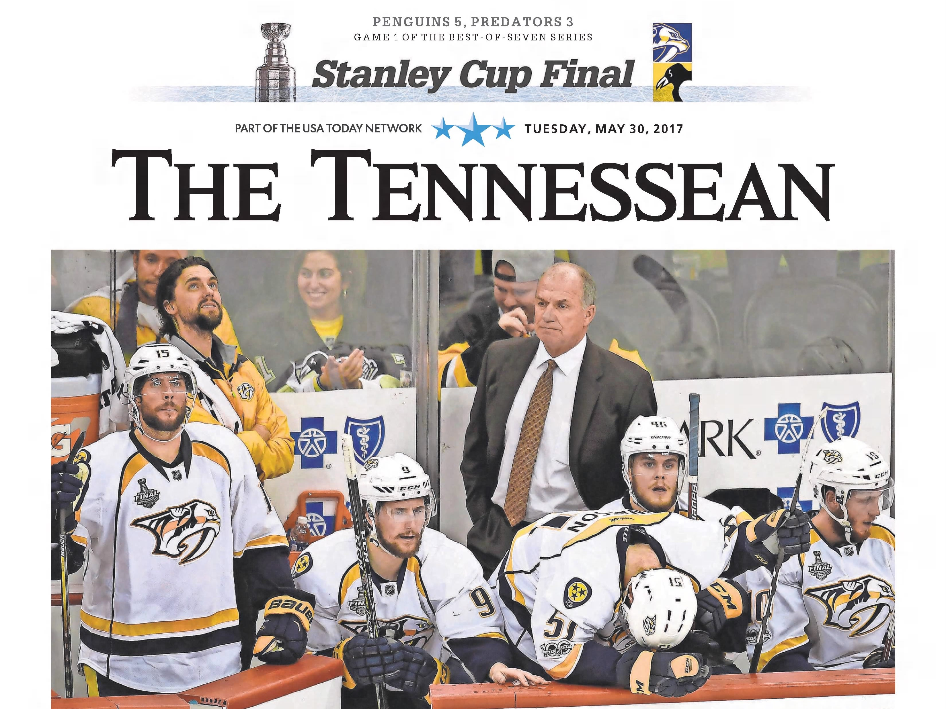 The front page of the May 30, 2017 of The Tennessean for the coverage of the Nashville Predators Stanley Cup run.