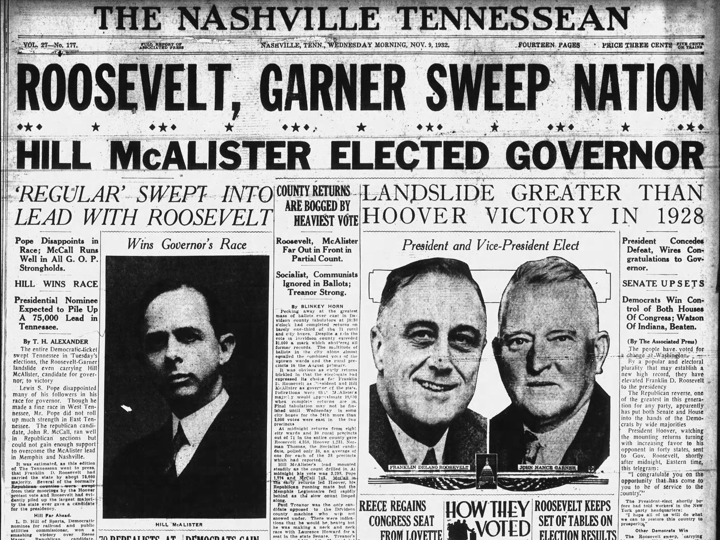 The front page of the Nov. 9, 1932 of The Tennessean which Franklin D. Roosevelt won the presidential election.