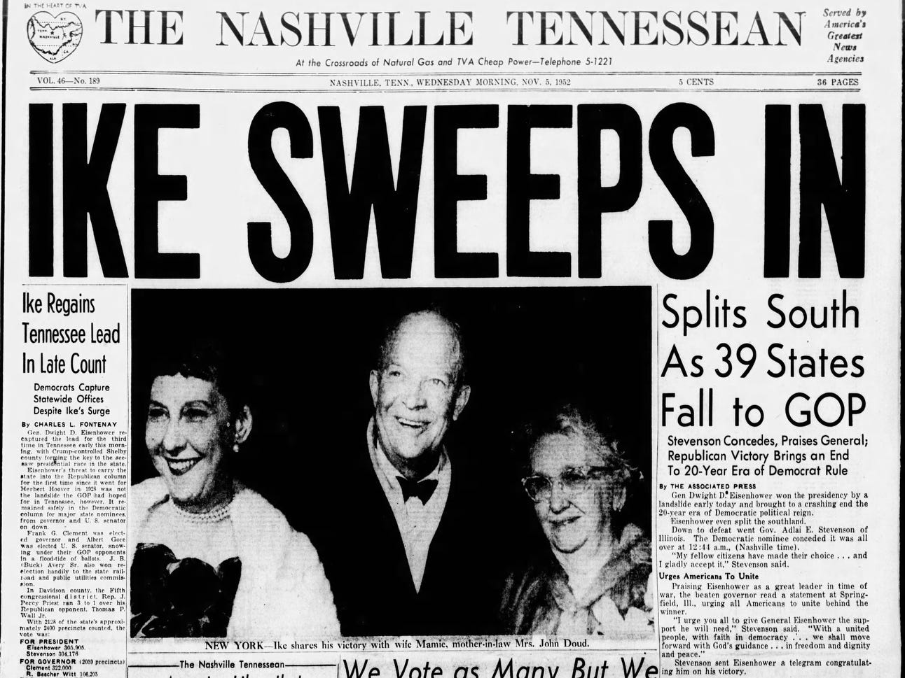 The front page of the Nov. 5, 1952 of The Tennessean which Dwight D. Eisenhower won the presidential election.
