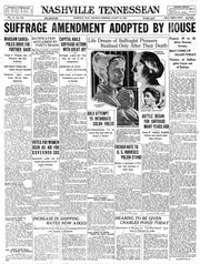 The front page of the Aug. 19, 1920 of The Tennessean for the coverage of the suffrage amendment.
