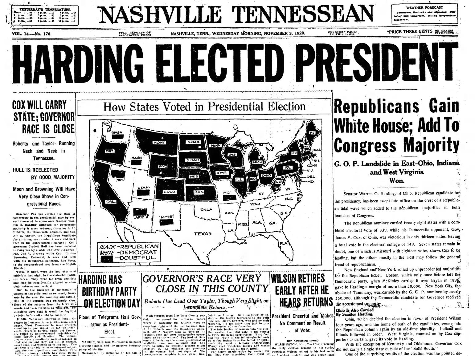 The front page of the Nov. 3, 1920 of The Tennessean which Warren G. Harding won the presidential election.