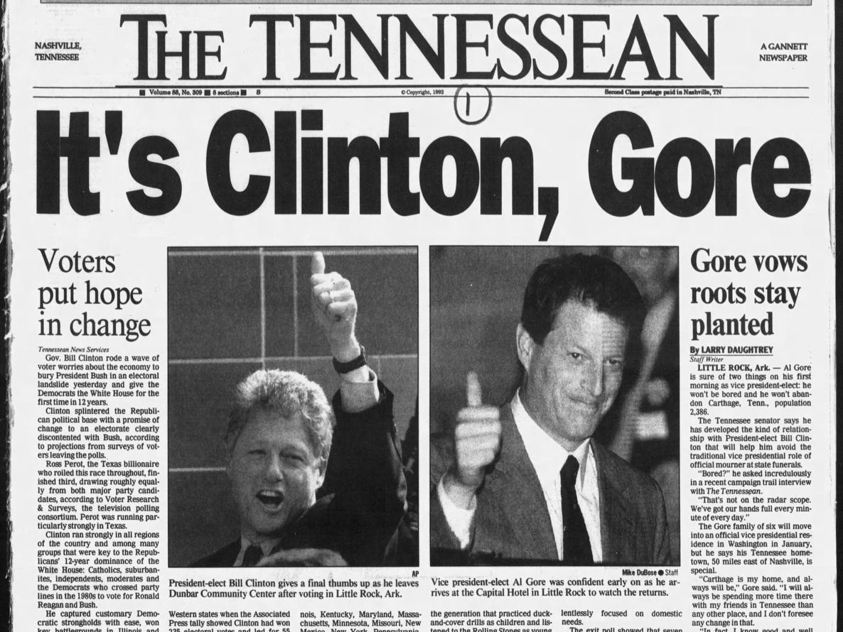The front page of the Nov. 4, 1992 of The Tennessean which Bill Clinton won the presidential election.
