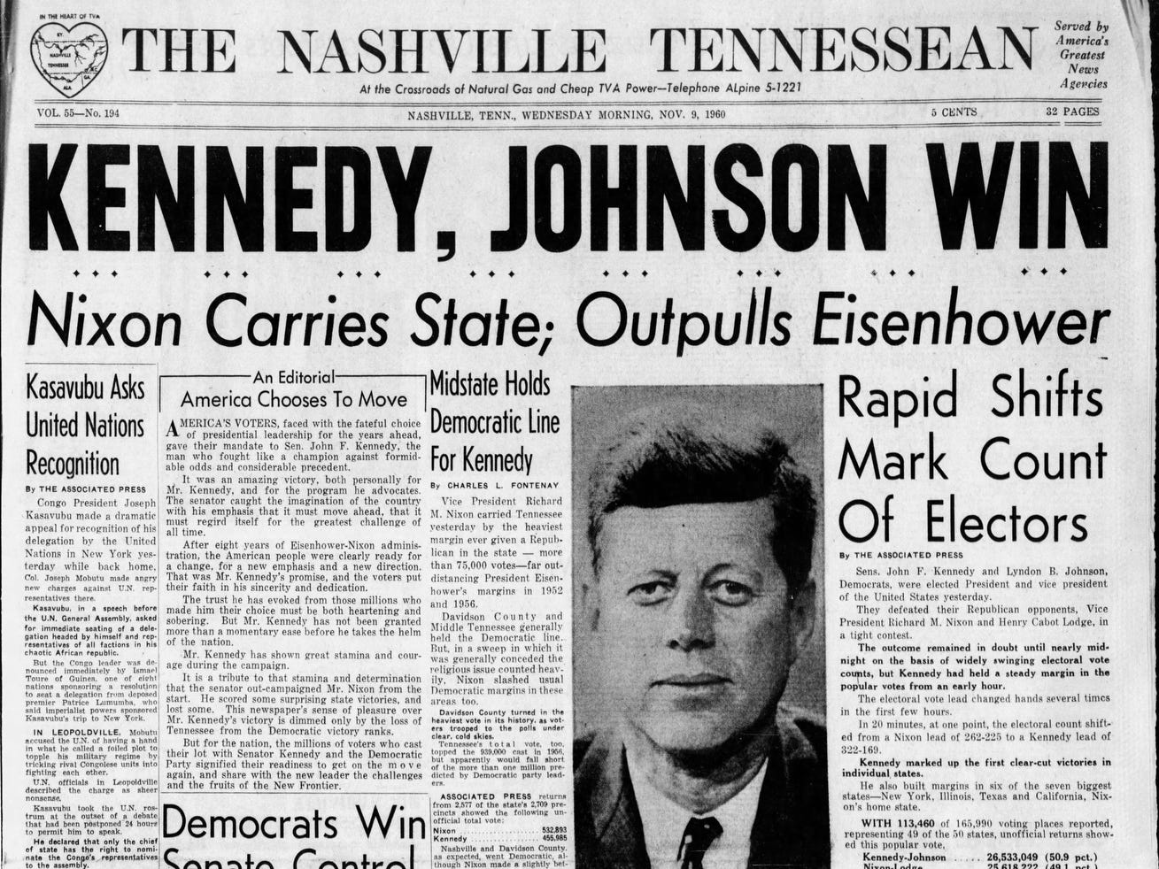 The front page of the Nov. 9, 1960 of The Tennessean which John F. Kennedy won the presidential election.