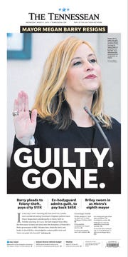 The front page of the March 7, 2018 of The Tennessean for the coverage of the resignation of Mayor Megan Barry.