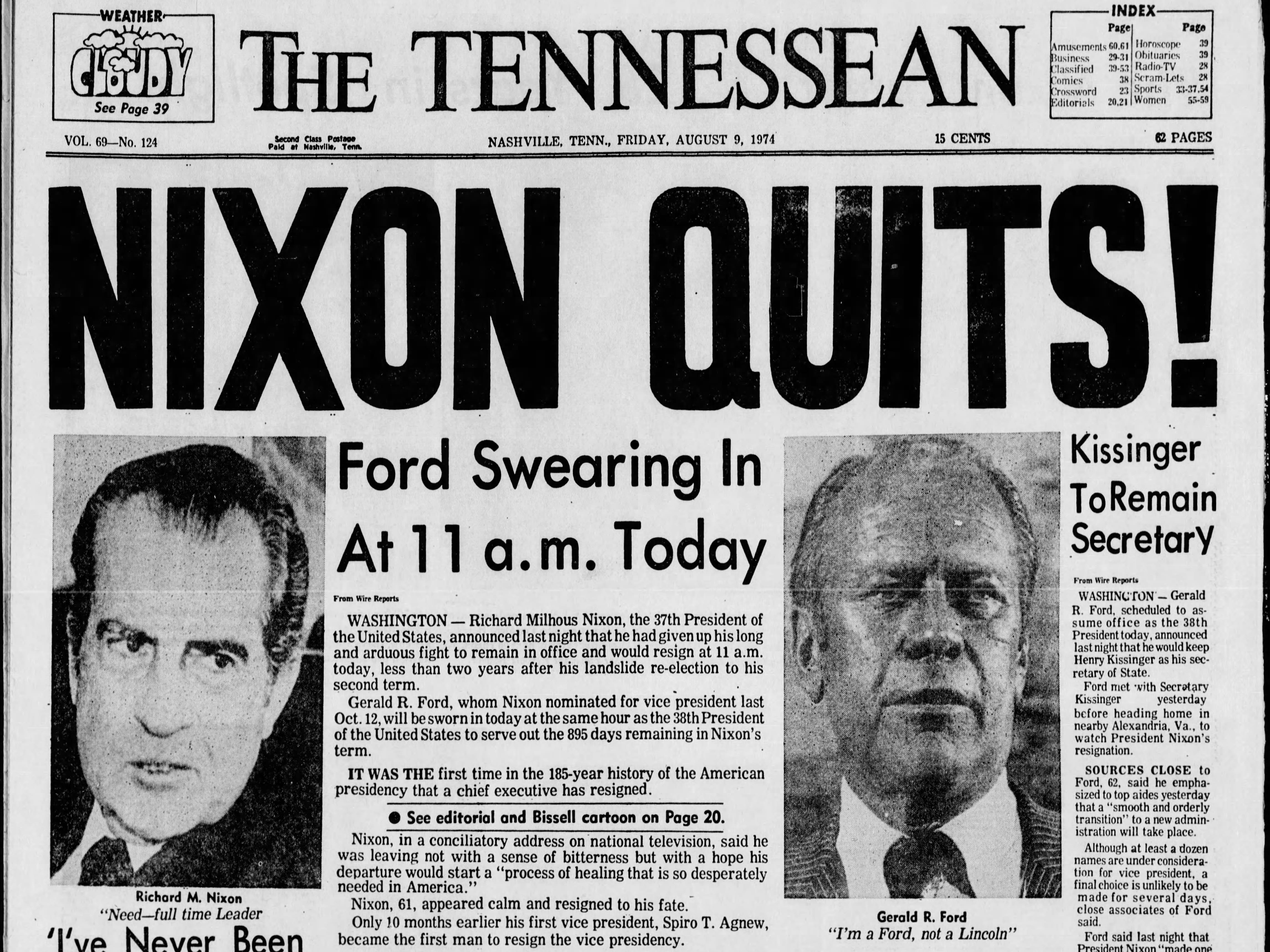 The front page of the Aug. 9, 1974 of The Tennessean for the coverage of the resignation of President Richard M. Nixon.