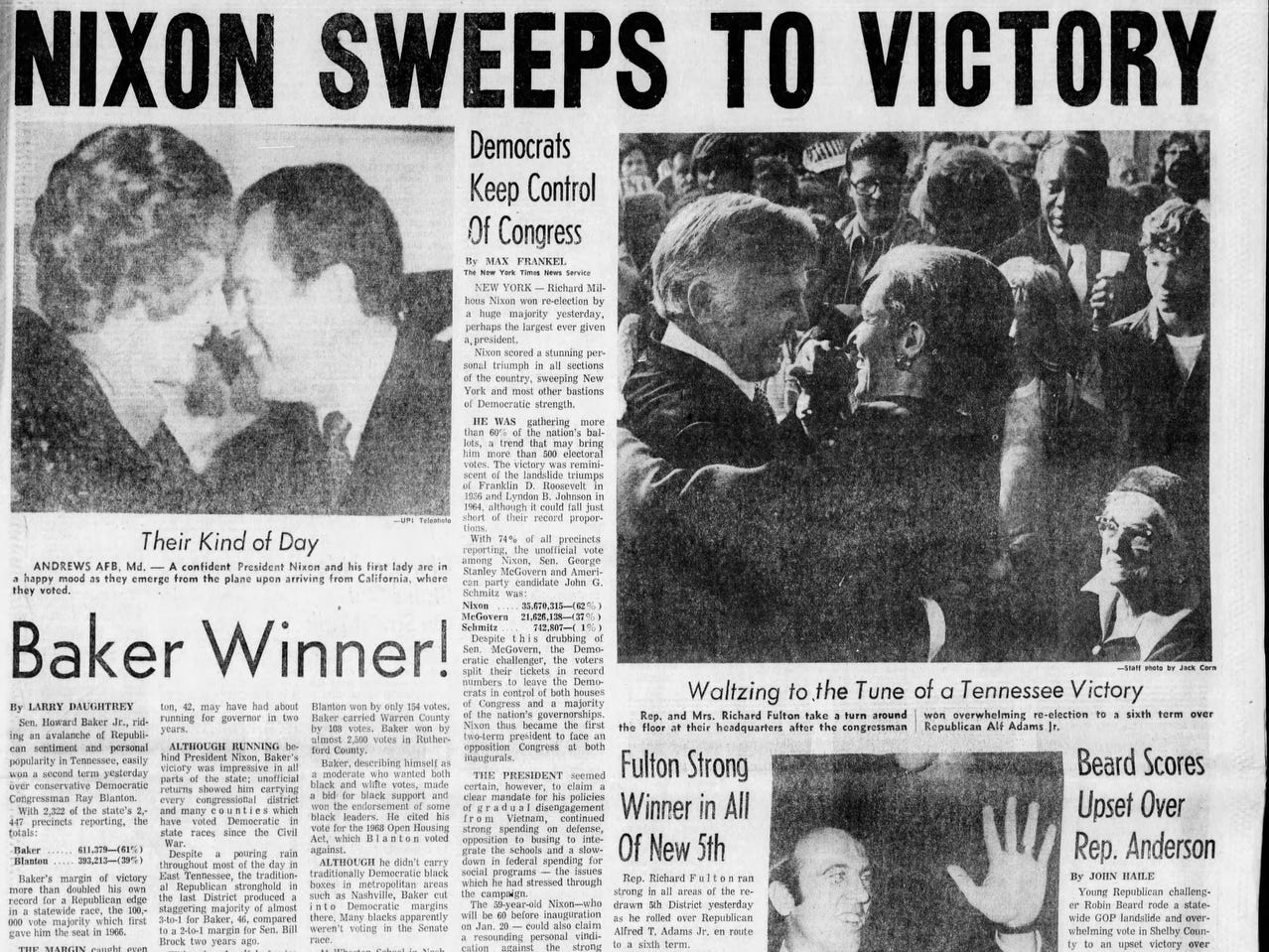 The front page of the Nov. 8, 1972 of The Tennessean which Richard M. Nixon won the presidential election.