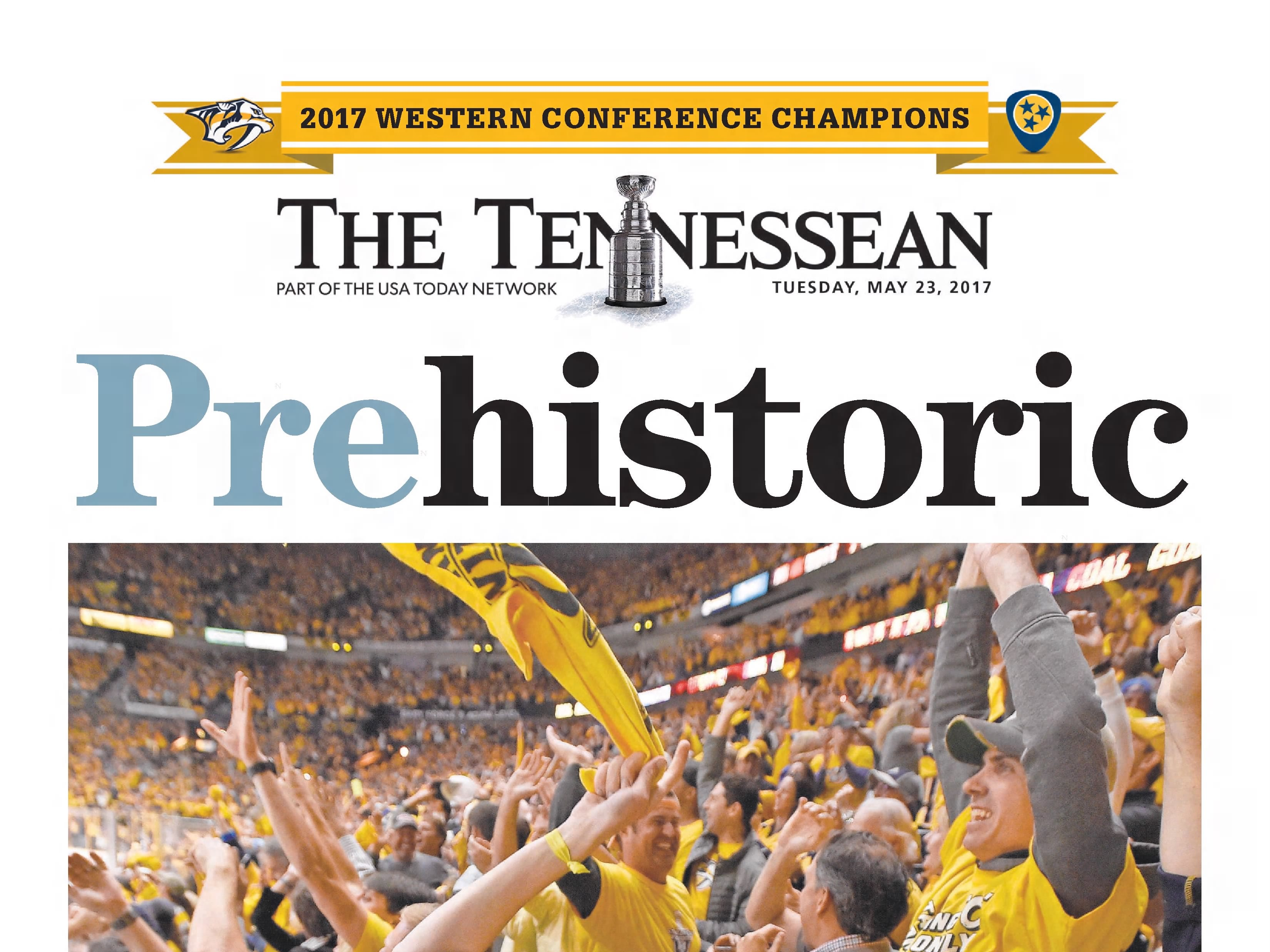 The front page of the May 23, 2017 of The Tennessean for the coverage of the Nashville Predators Stanley Cup run.