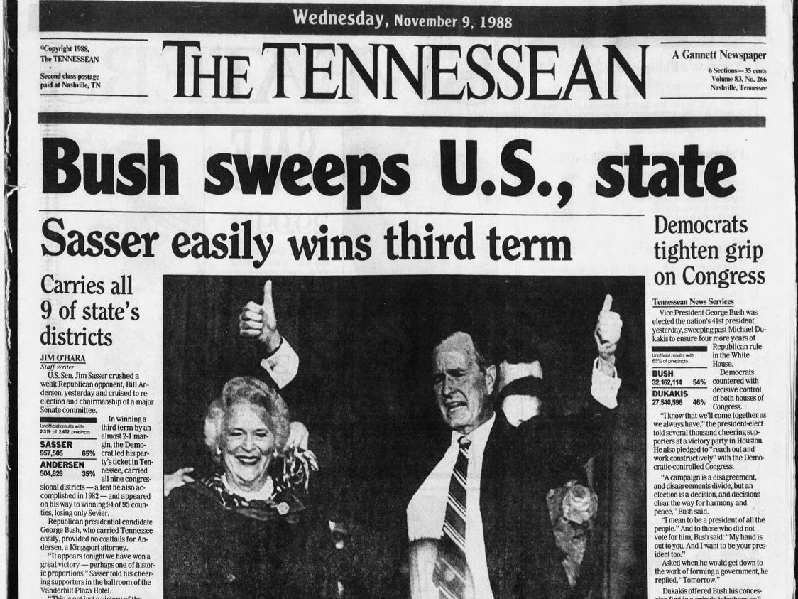 The front page of the Nov. 9, 1988 of The Tennessean which George H. W. Bush won the presidential election.