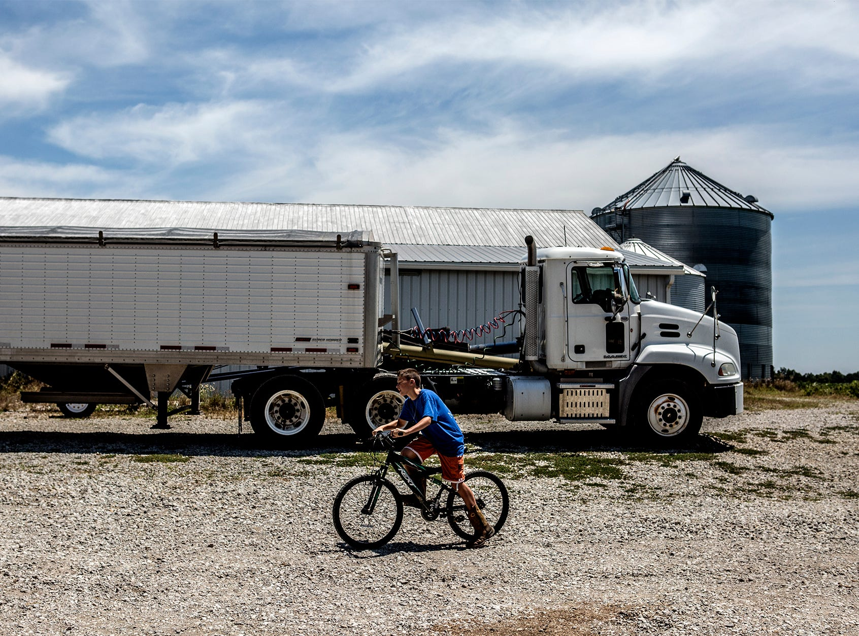 Arthur rides often rides his bike around the family farm in Utica. His parents love the freedom their children can have on the farm, as well as the work ethic they learn while helping out with chores.