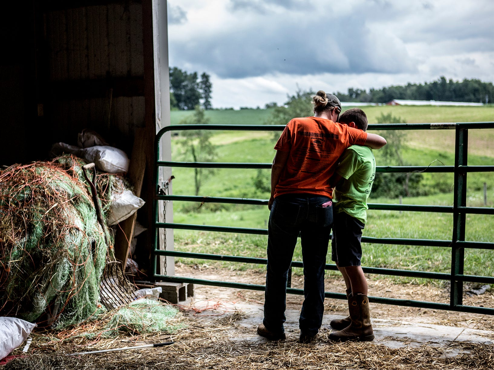 Mamie pulls her oldest son, Arthur aside to talk to him. Arthur had been playing around in the barn instead of getting his chores done and taking care of his cows for 4H.