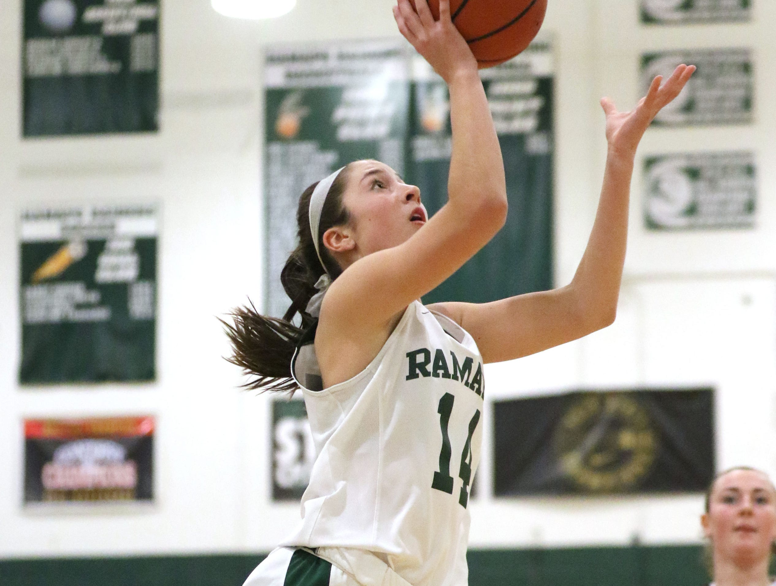 Julia Corella, of Ramapo, goes up for a basket, Thursday, January 10, 2019.