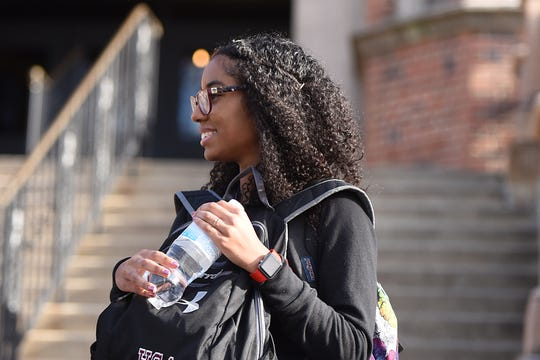 Teaneck High School was under lockdown due to reports of a man with a gun, but it turned  out to be a false alarm. Jessenia Wofford outside of the high school on Friday January 11, 2019.