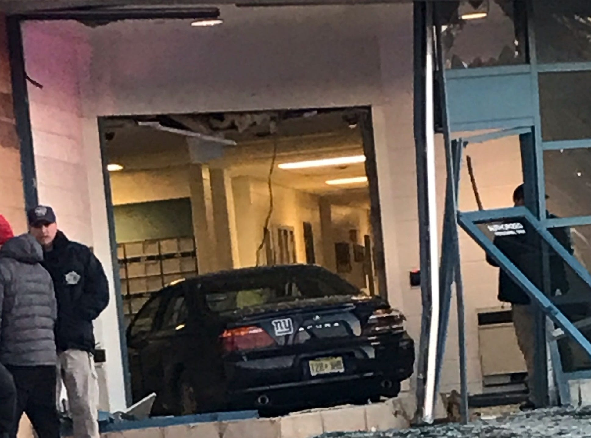A black sedan crashed into the administrative section of the Bergen County Jail in Hackensack Jan. 11, 2019.