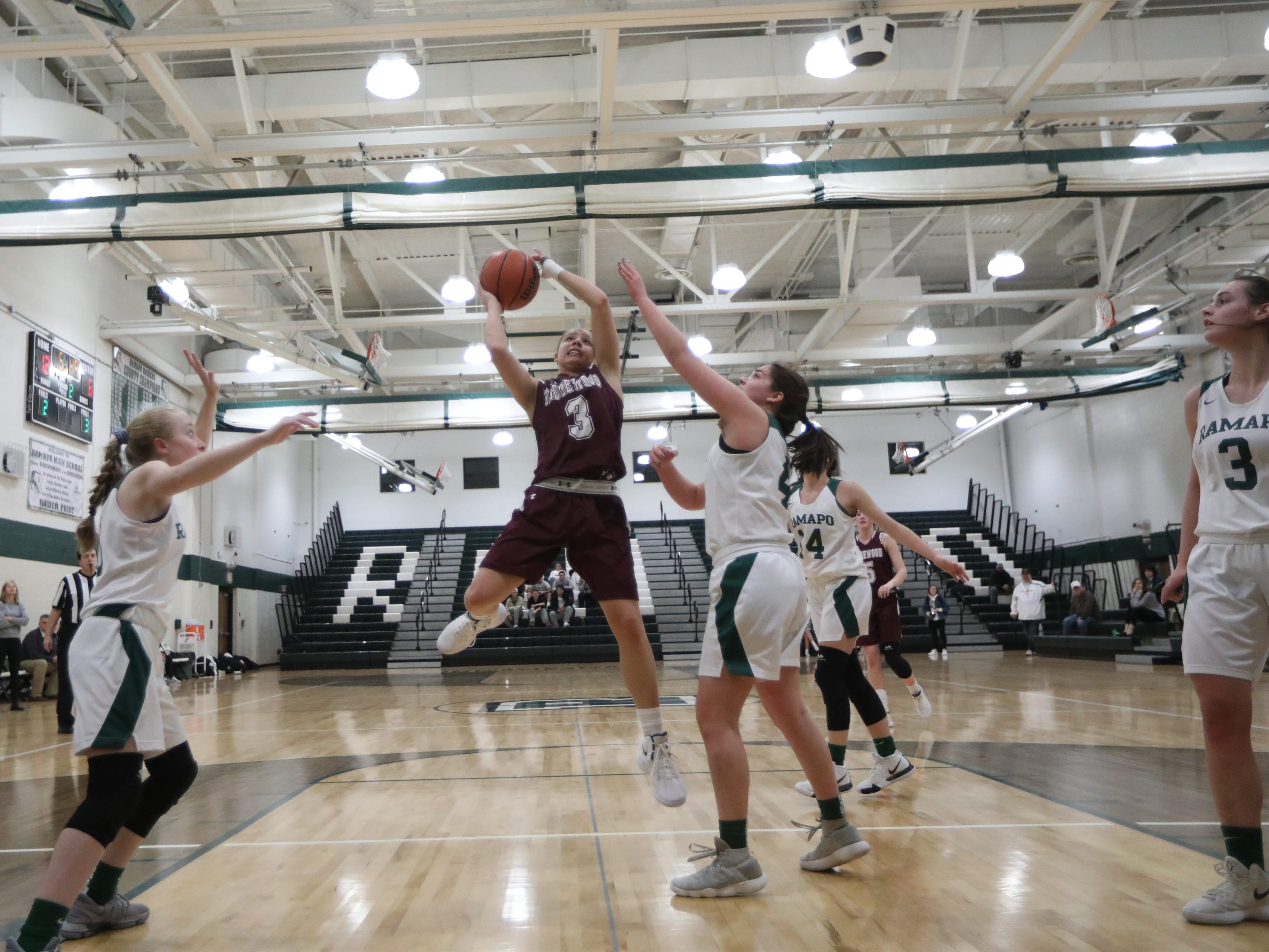 Jackie Wolak, of Ridgewood, goes up for two against Ramapo. Thursday, January 10,  2019