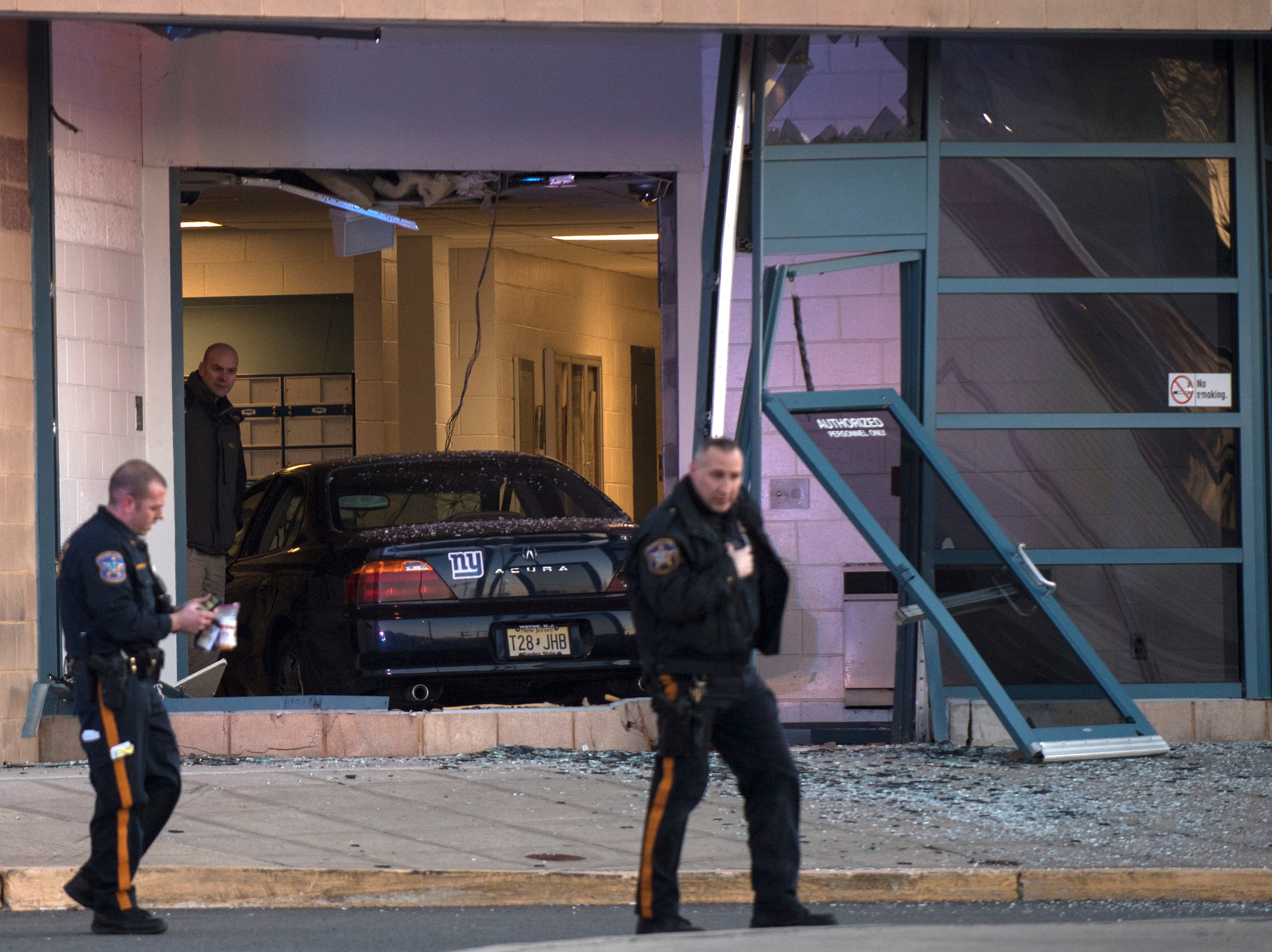 A vehicle crashed into the Bergen County Jail on Friday, January 11, 2019.