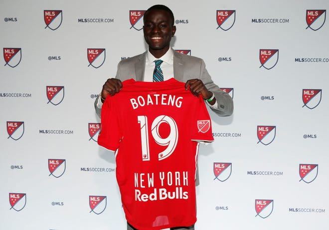 Jan 11, 2019; Chicago, IL, USA; Roy Boateng selected as the number sixteen overall pick to the New York Red Bulls in the first round of the 2019 MLS Super Draft at McCormick Place. Mandatory Credit: Nuccio DiNuzzo-USA TODAY Sports