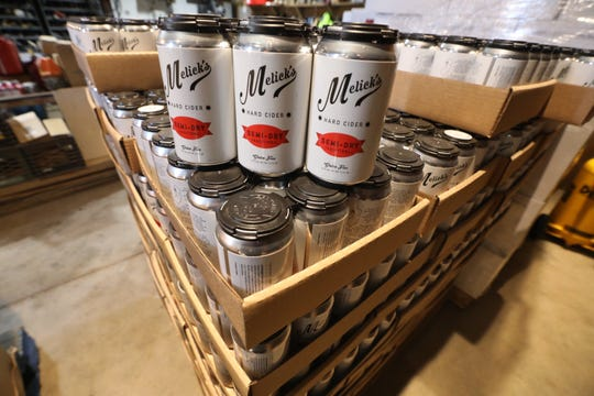 A six-pack among cases of Melick's semi-dry hard cider on January 11, 2019, kept in a storage area until they are delivered to local liquor stores. The apples used for the hard cider are grown, pressed, fermented and eventually canned at Melick's Town Farm in Oldwick.