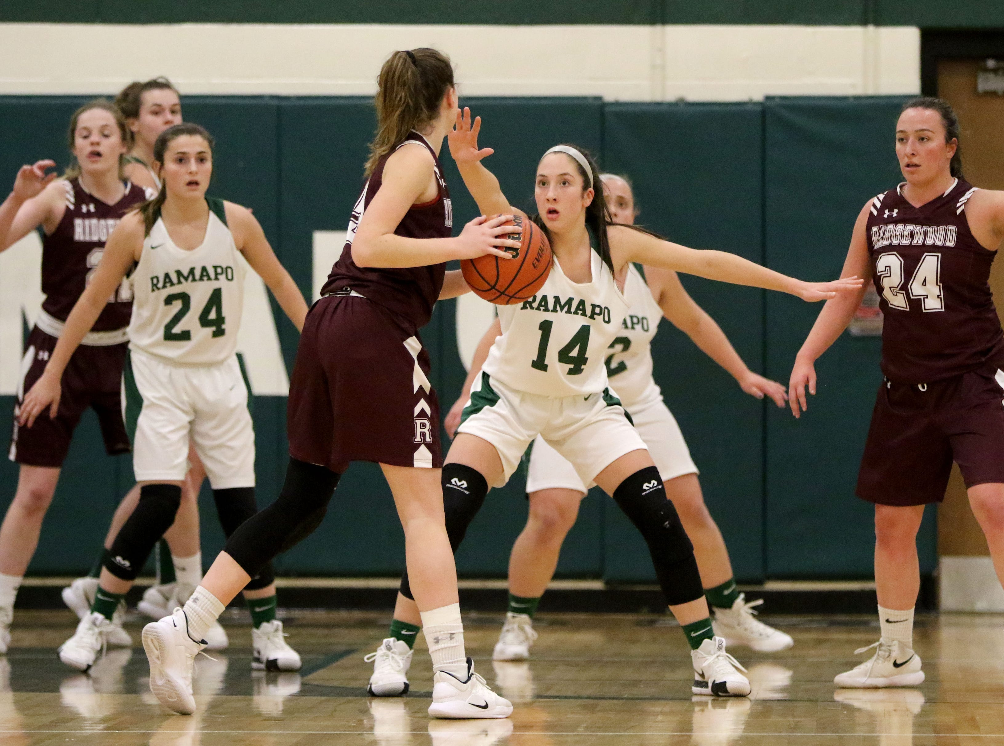 Julia Corella, of Ramapo, plays defense against Ridgewood, Thursday, January 10, 2019.