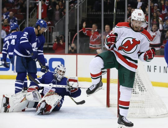 Jan 10, 2019; Newark, NJ, USA; New Jersey Devils center Blake Coleman (20) celebrates his goal during the second period of their game against the Toronto Maple Leafs at Prudential Center.