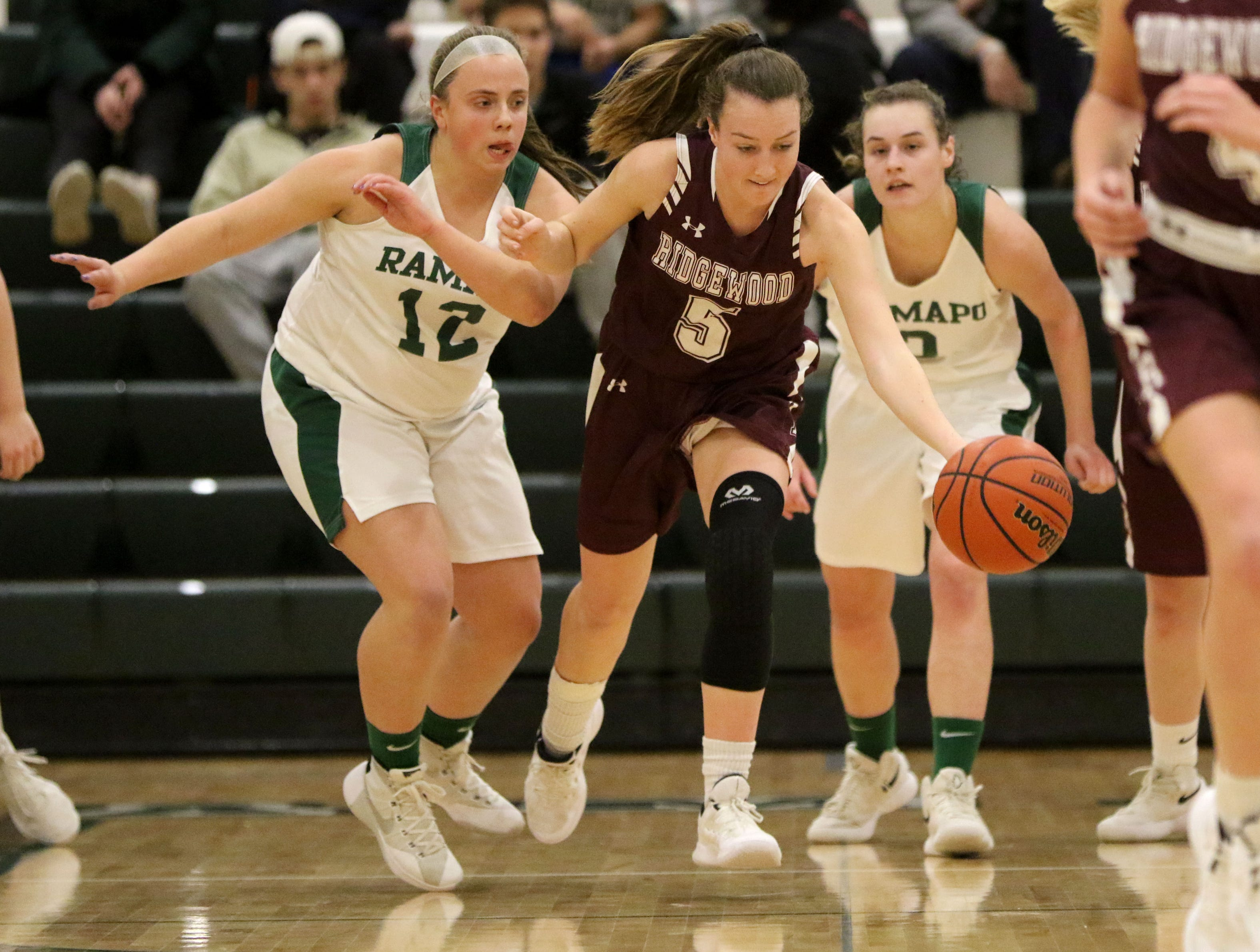 Annie McCarthy, of Ridgewood, leads the break away against the Ramapo defense. Thursday, January 10, 2019