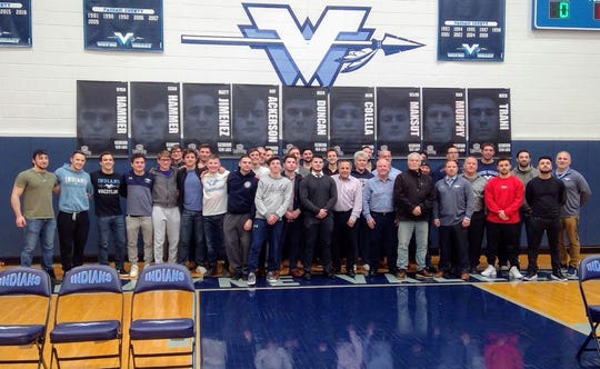The Wayne Valley wrestling alumni returned to campus and were honored before the Wayne Hills-Wayne Valley match Jan. 9.