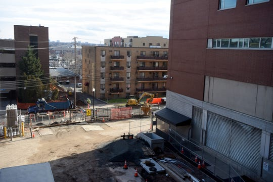 Construction is underway on Second St. in Hackensack, between Essex and Atlantic Streets, on the Second Street Tower, a 500,000 sq. ft. expansion of Hackensack University Center Medical Center that will feature private rooms, intensive care beds and new operating suites.