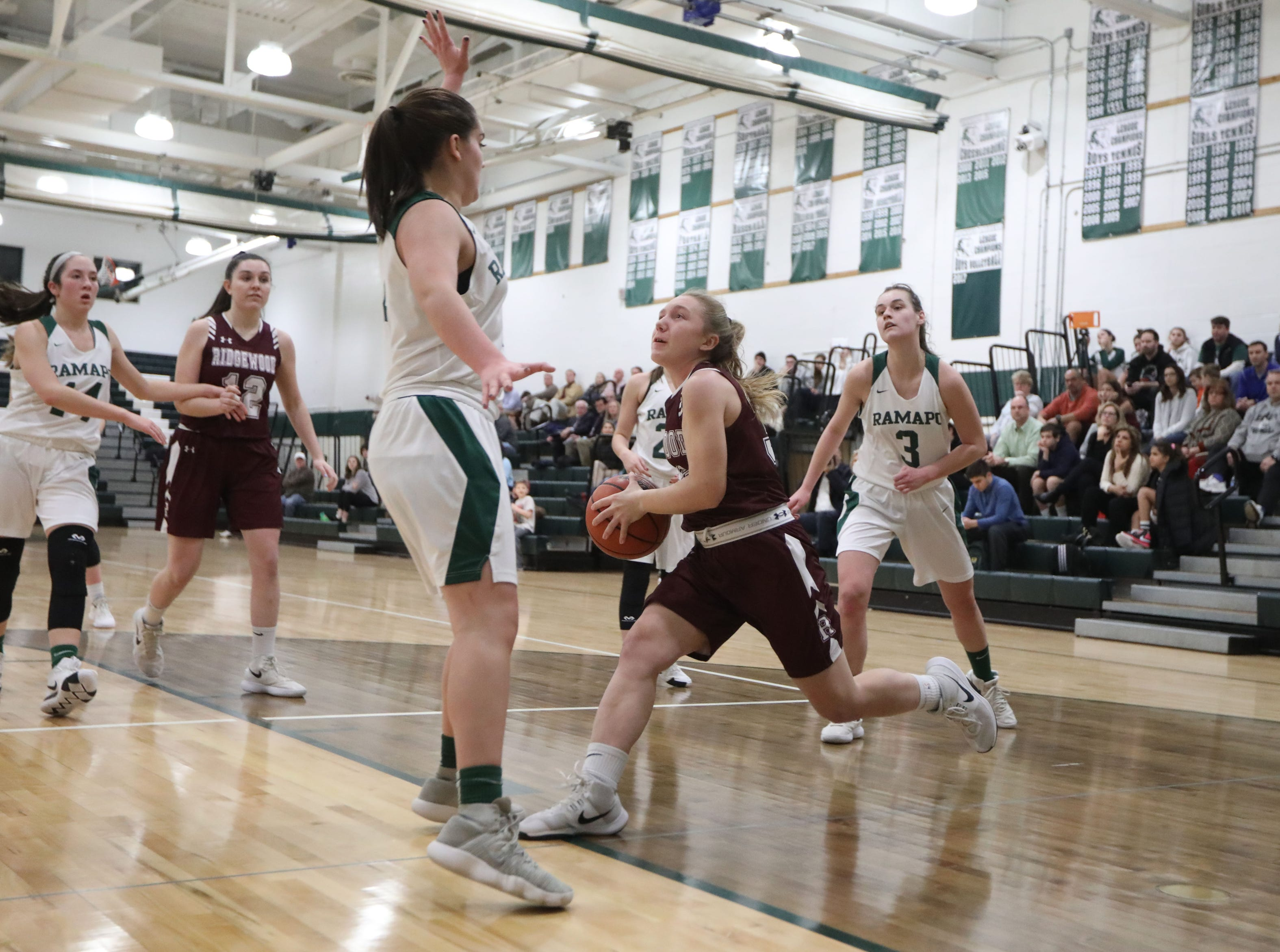 Allie Olsen, of Ridgewood, eyes the basket against Ramapo. Thursday, January 10,  2019
